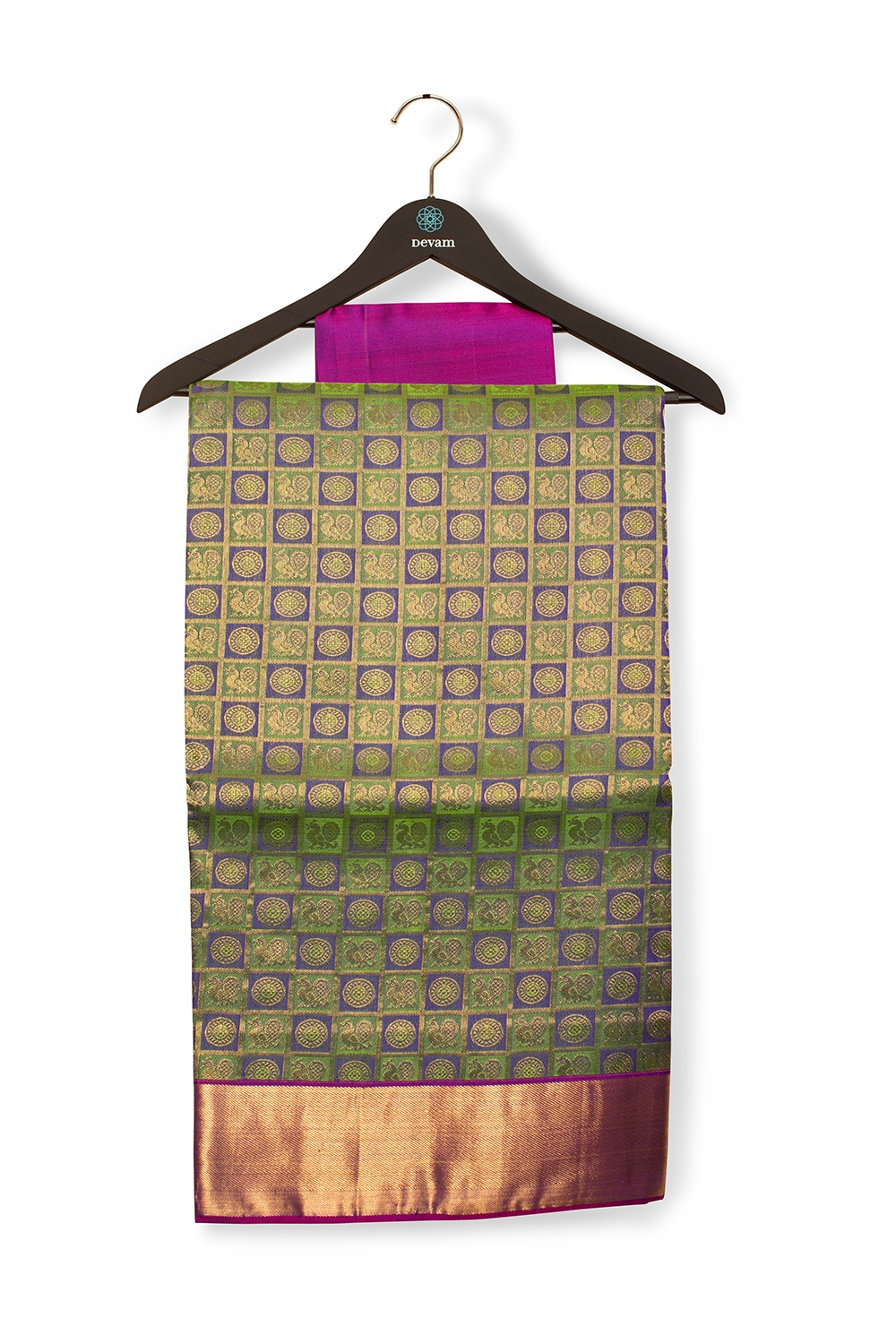 Blue And Green Morchakra Checkered Kanjeevaram Silk Saree With Real Jari