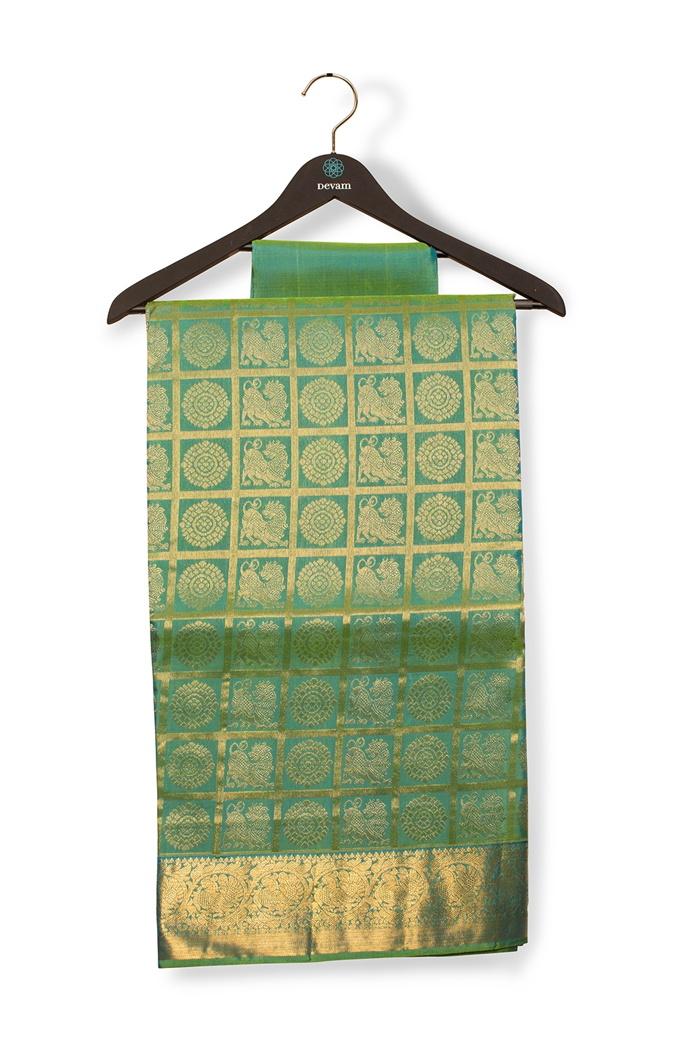 Teal And Green Yalichakra Silk Saree Kanjeevaram With Real Jari