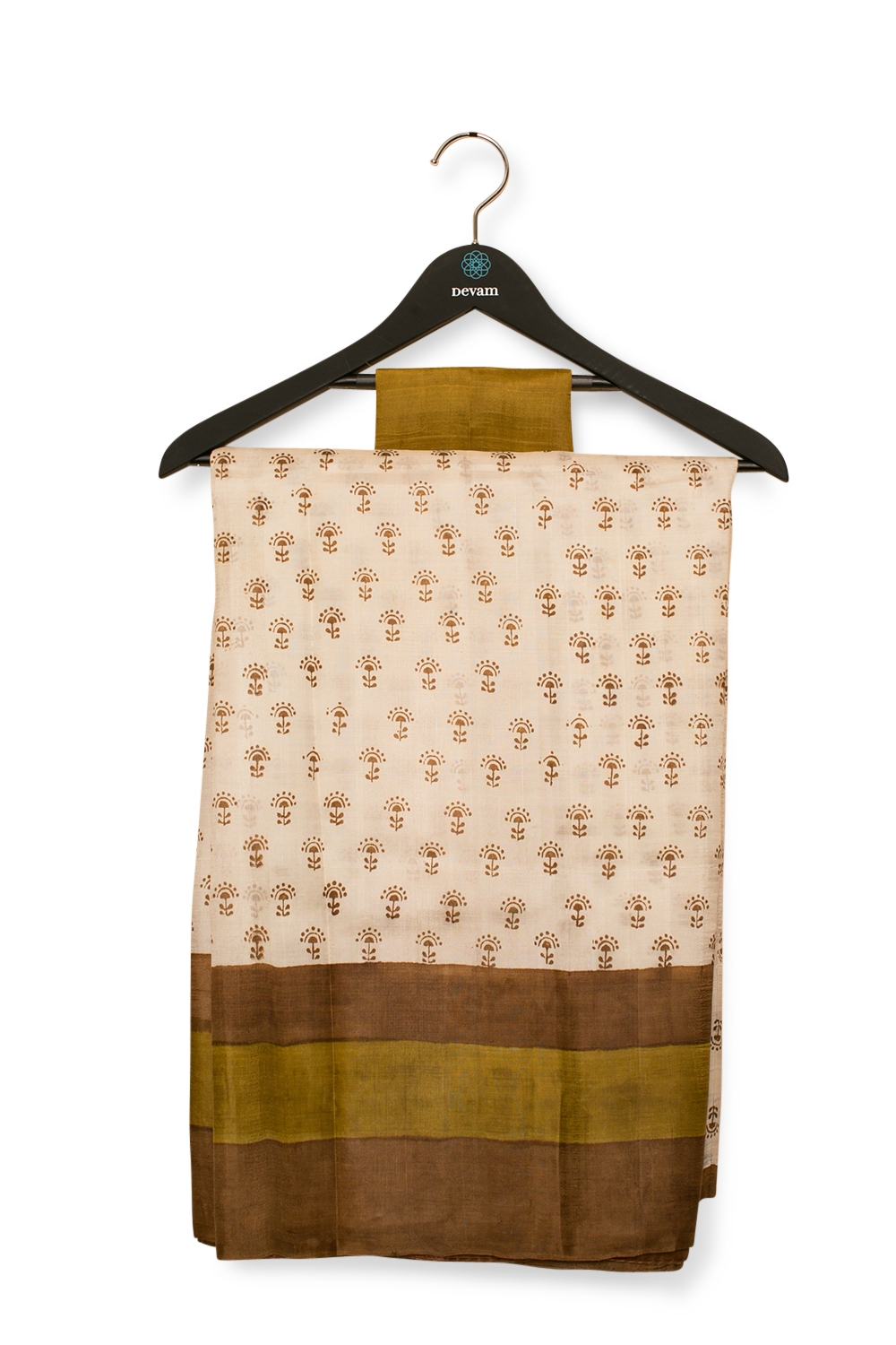 Off-White & Brown Hand Painted Silk Bishnupuri Saree