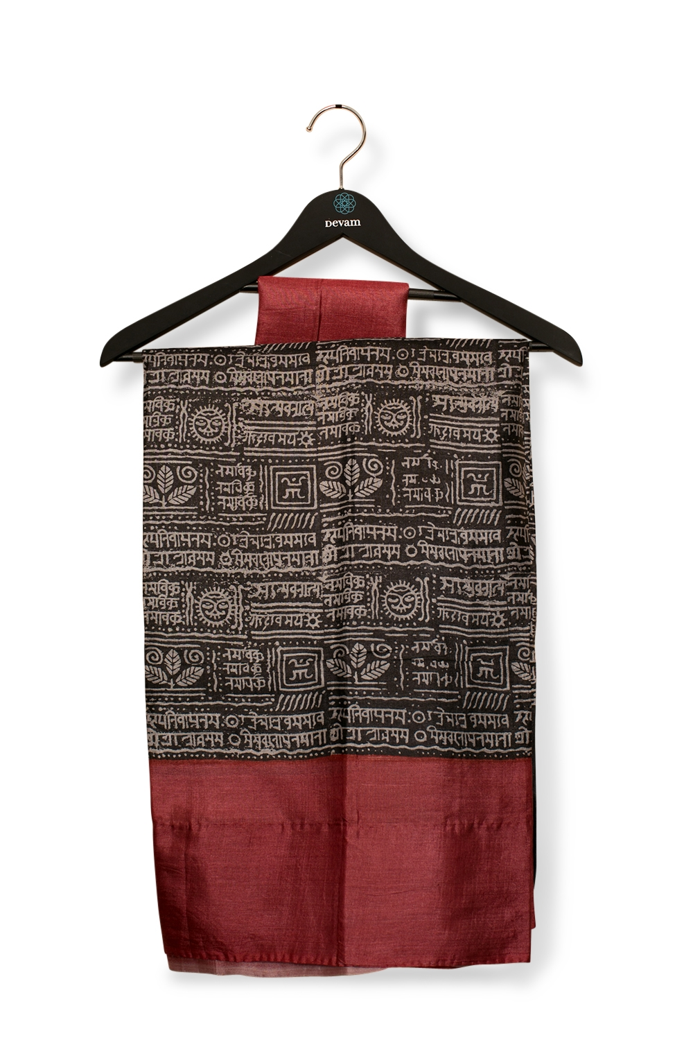 Red & Black Hand Block-Painted Dupion Silk Saree