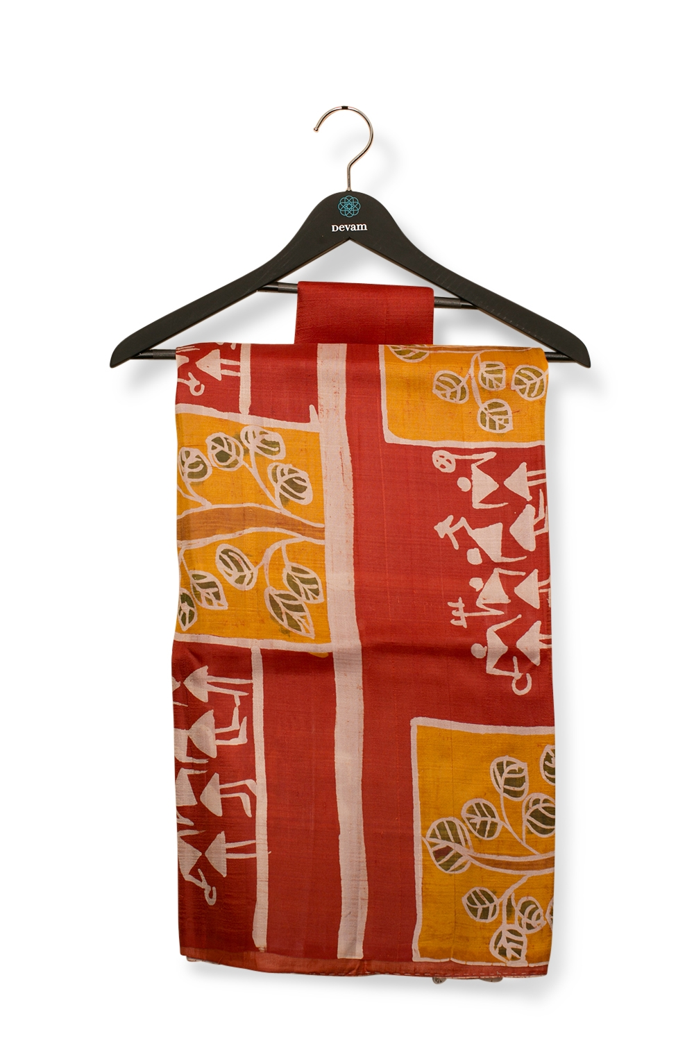 Red & Yellow Batik Print Bishnupuri Silk Saree