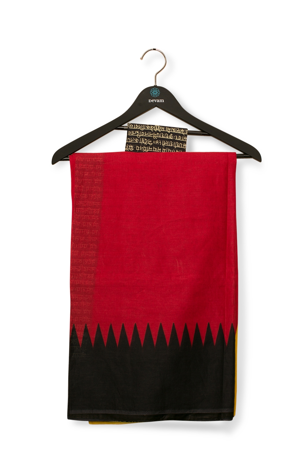 Red, Yellow, & Black Madhubani Cotton Saree