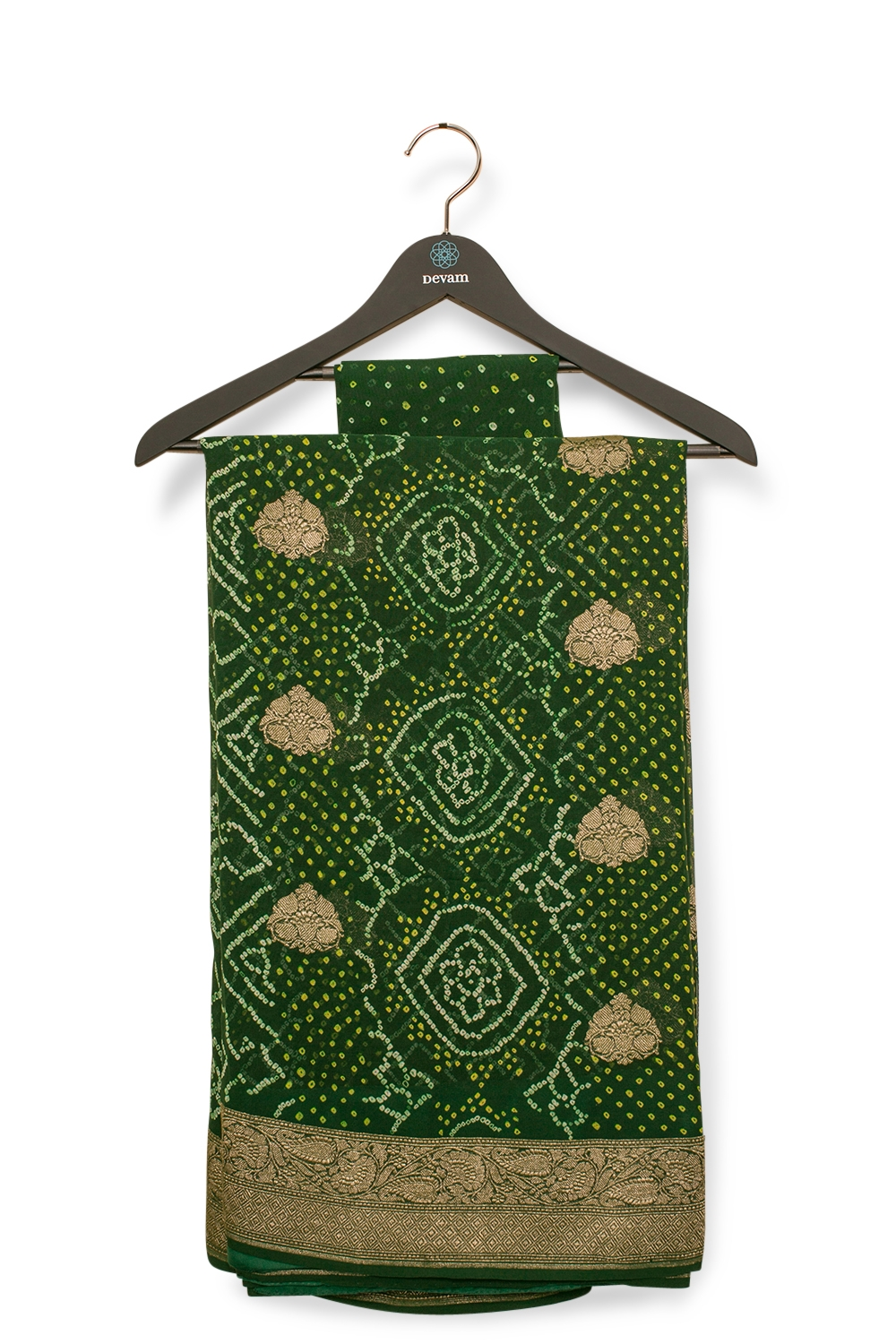 Forest Green Georgette Banarasi Saree With Bandhej Style And Gold Weave