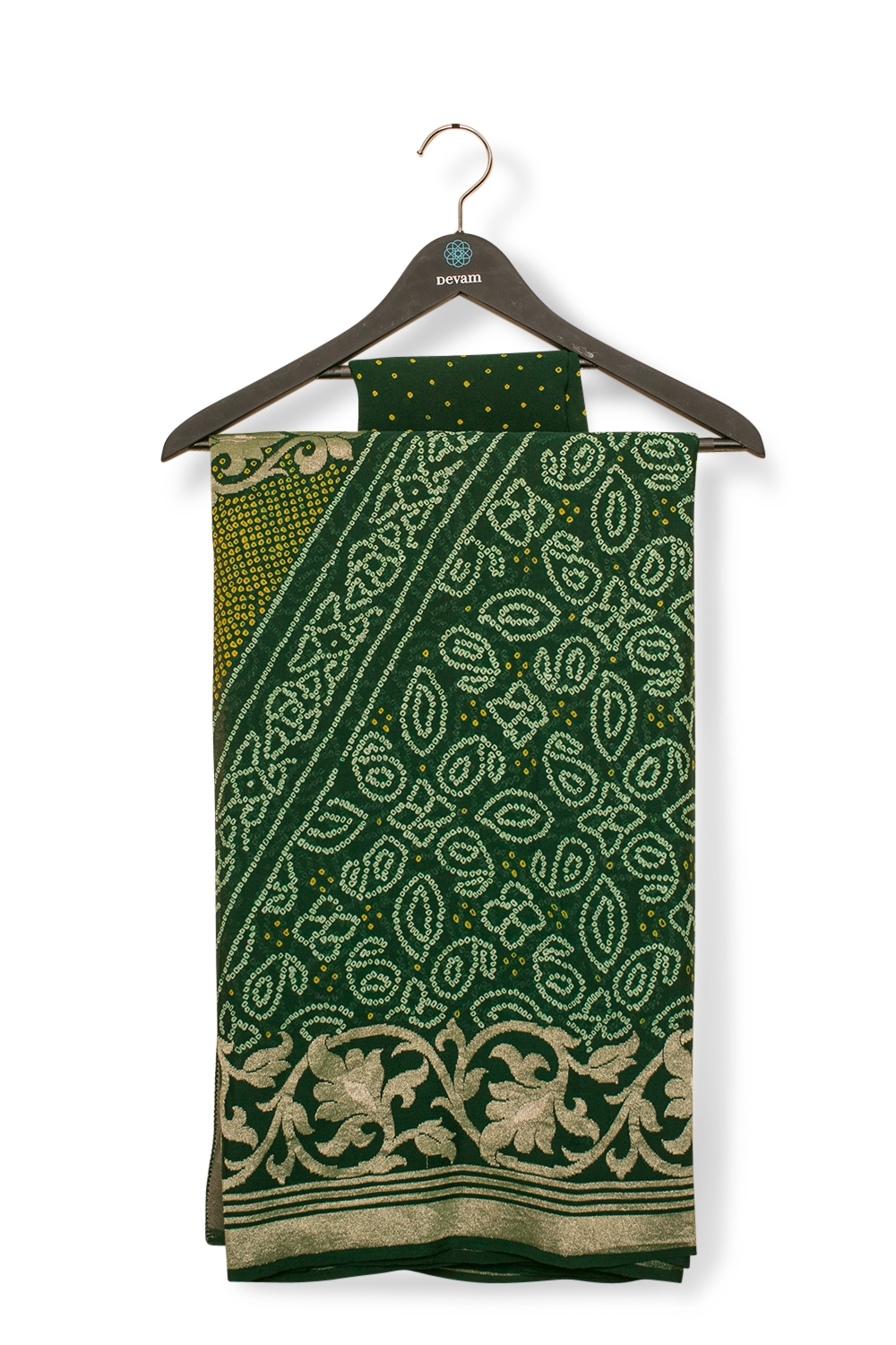 Forest Green Banarasi Bandhej With Gold Weave