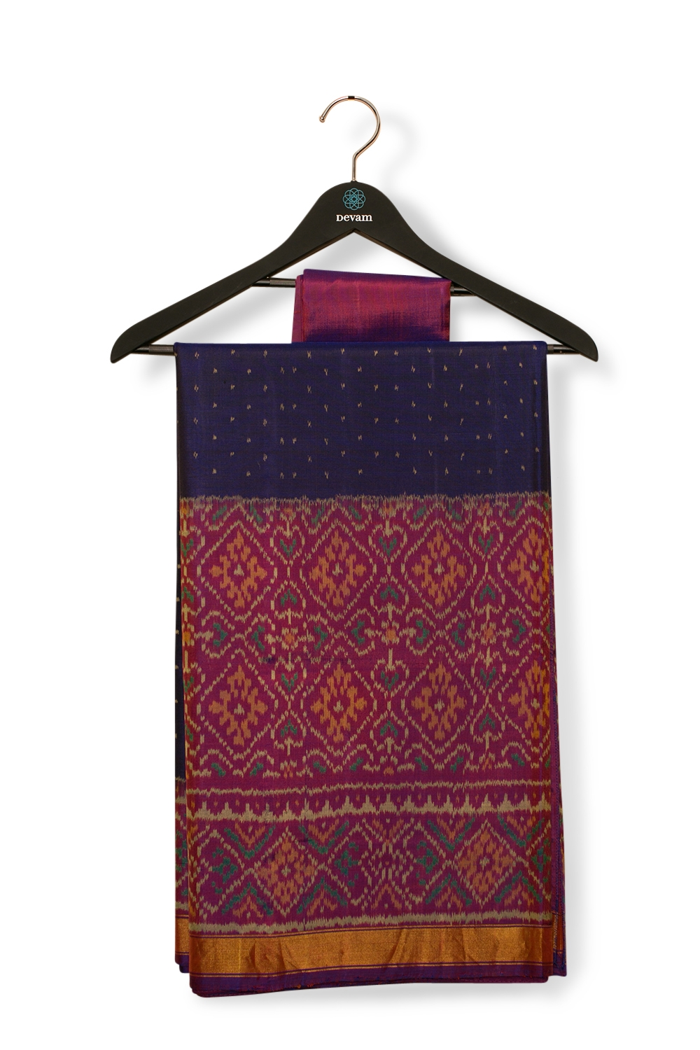Two Tone Blue & Fuchsia Silk Patola Saree