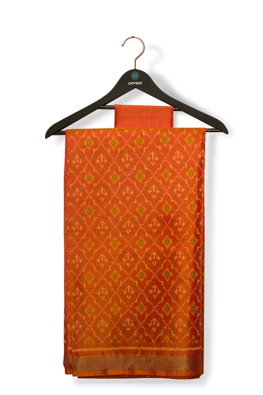 Rust Orange Real Jari Border Silk Patola Saree
