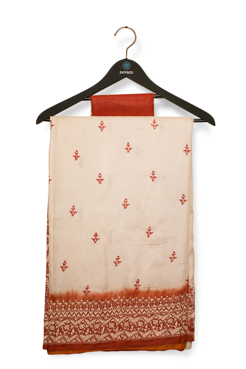 Rustic Off-White Bangalore Silk Saree With Kantha Work