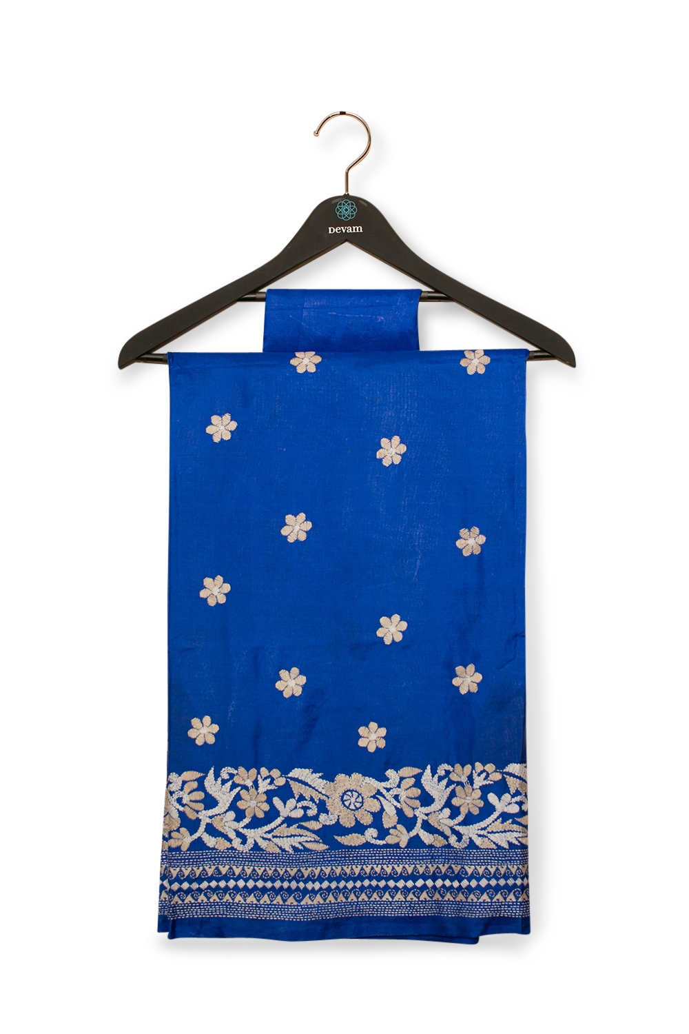 Blue Bangalore Silk Saree With Kantha Work