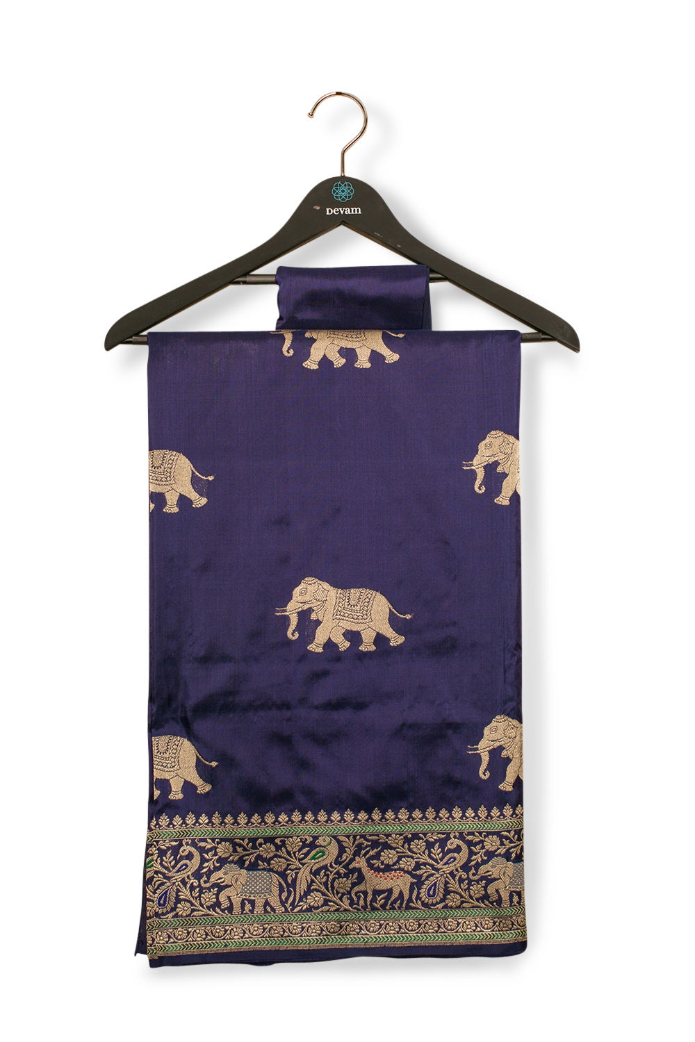 Regal Purple Elephant Silk Banarasi Saree