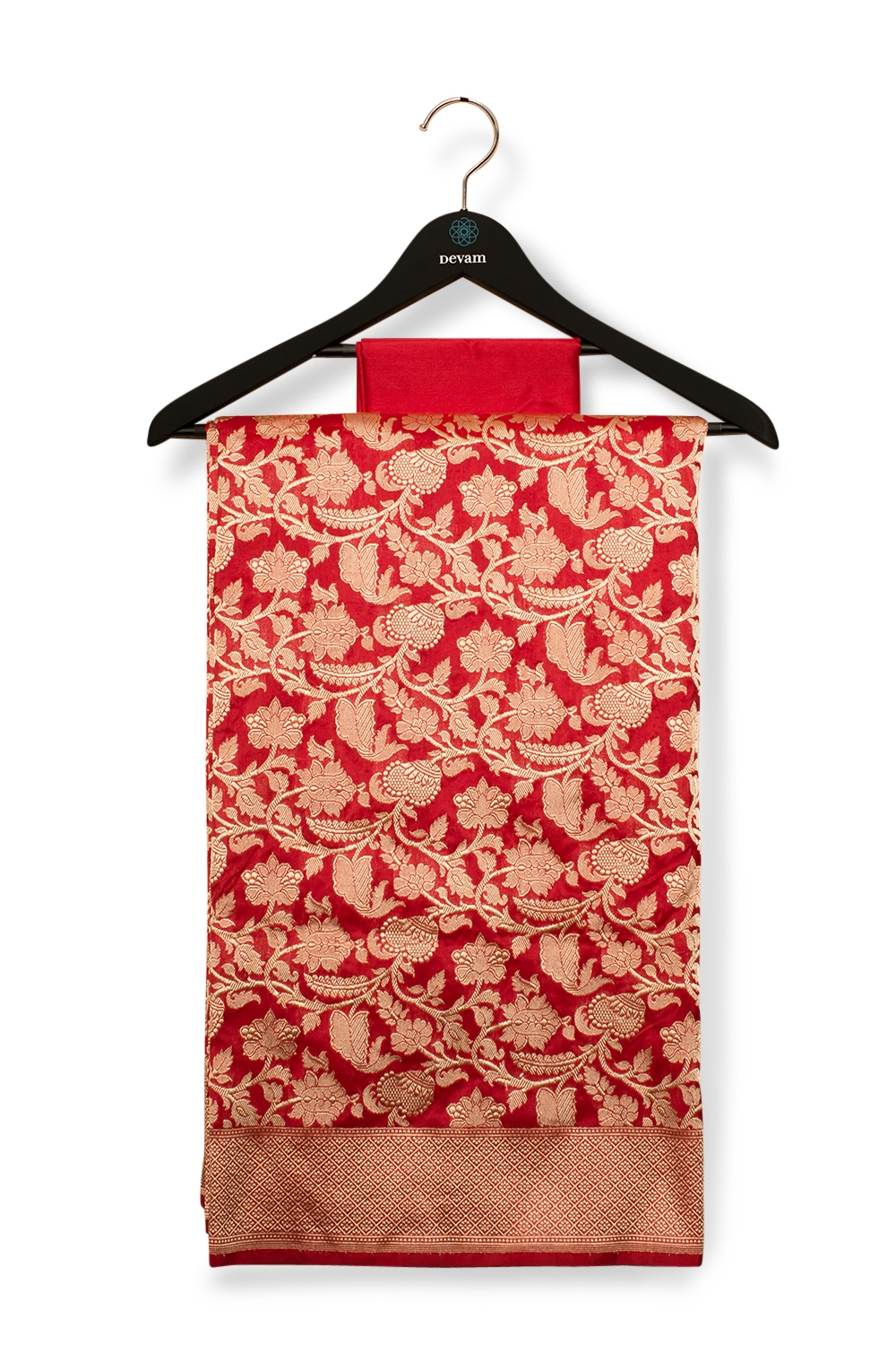 Red Silk Banarasi Saree With Jaal Allover