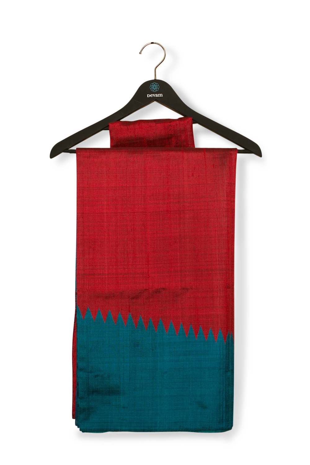 Electric Blue & Red Raw Silk Handloom Saree