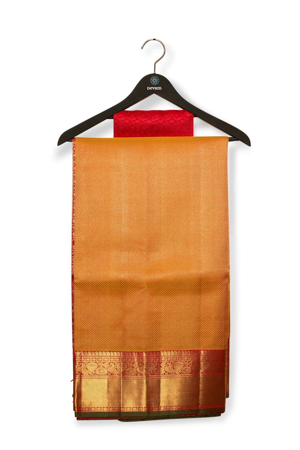 Red & Gold Real Jari Silk Kanjeevaram Saree