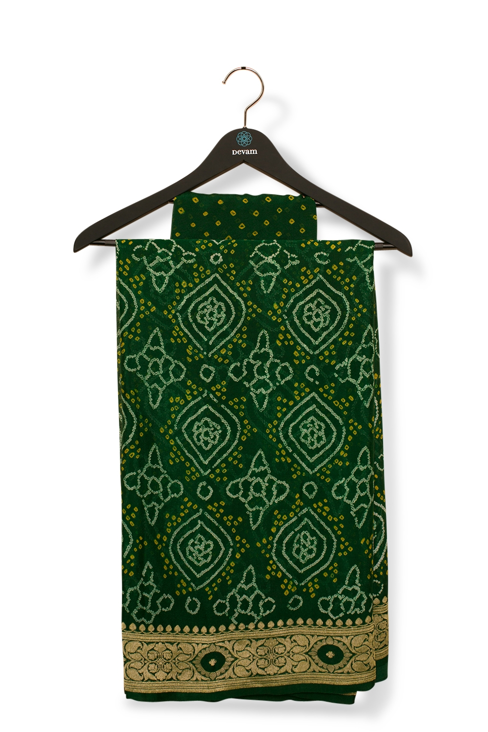 Emerald Green Bandhani Georgette Banarasi Saree With Gold Weave