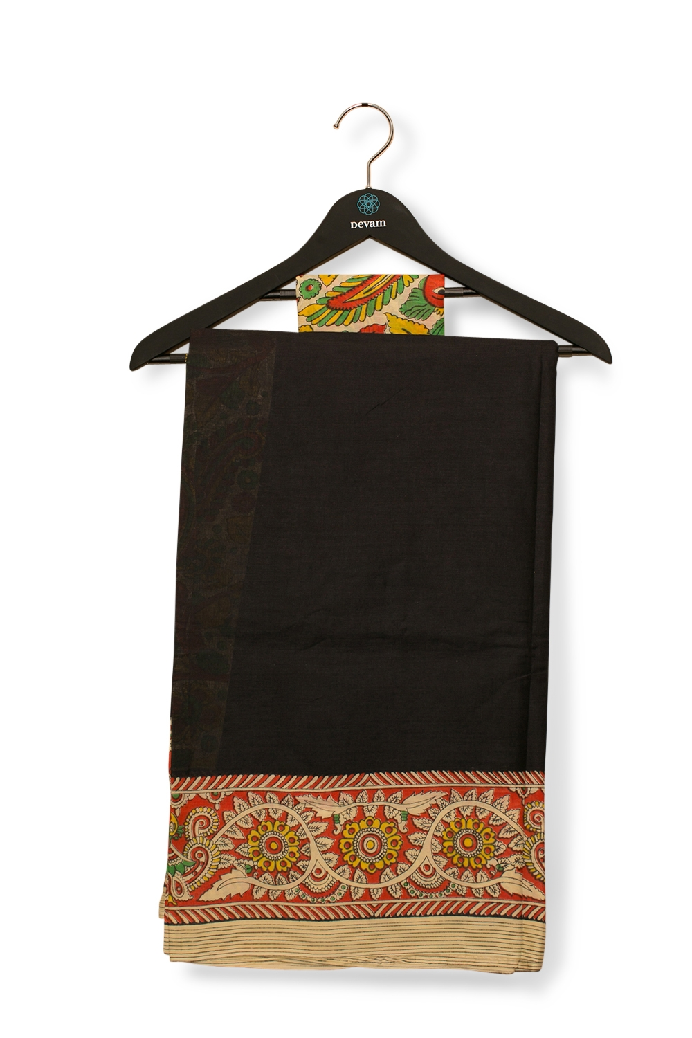 Black Madhubani Cotton Carnival Style Saree From West Bengal
