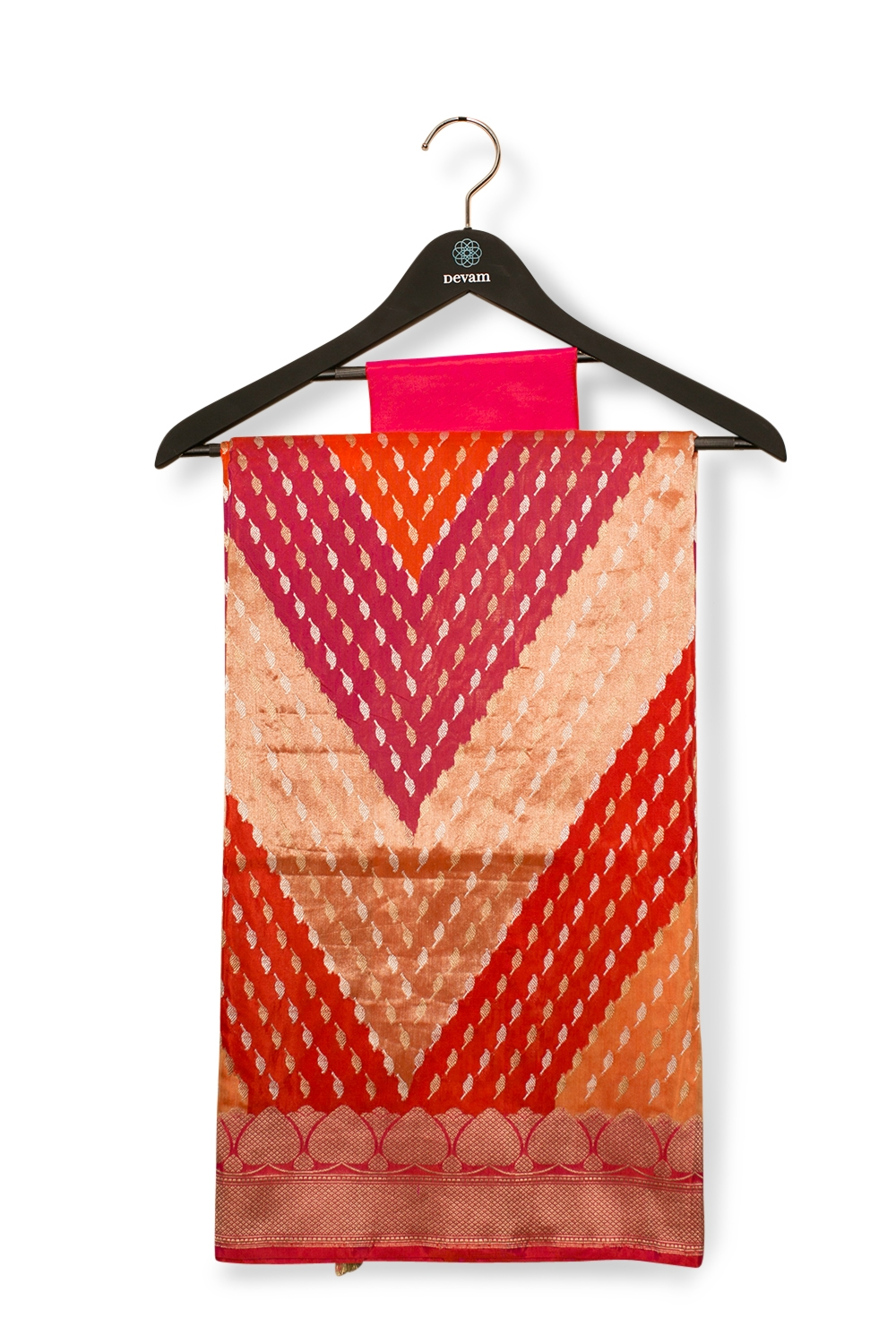 Rangakat Style Silk Banarasi Saree With Kadiyal Weaving