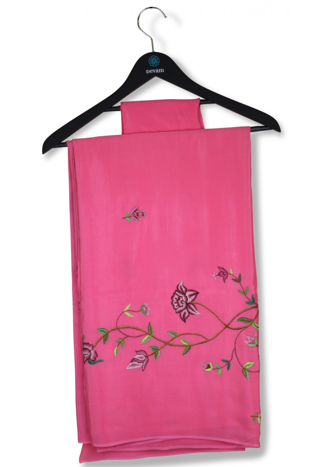 Pretty Pink Convent Embroidery Rose Crepe Silk Saree
