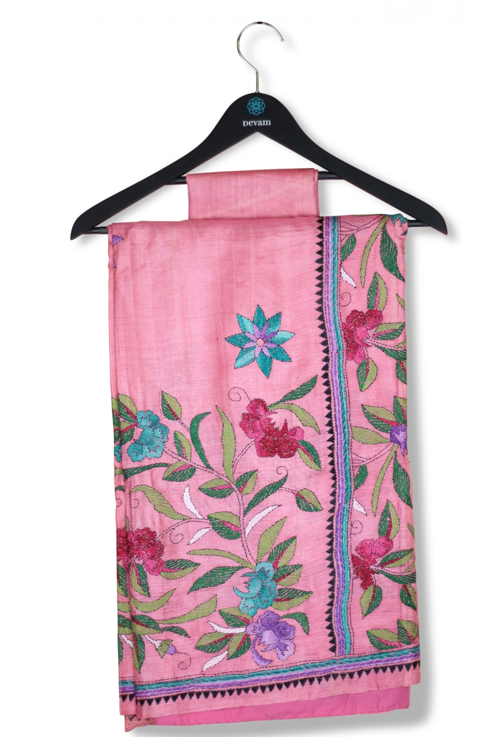 Rose Pink Silk Saree With Kantha Work