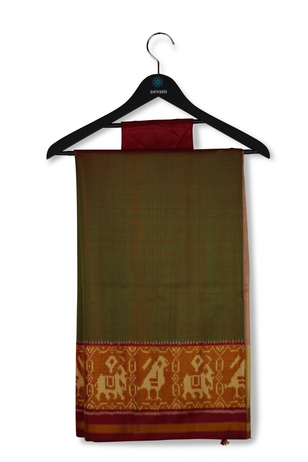 Maroon & Olive Green Silk Patola Saree With Real Jari Gold