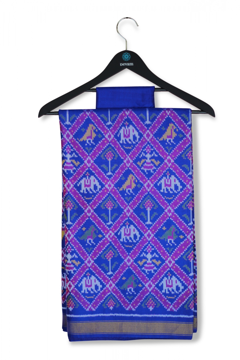 Royal Blue Nari Kunjar Single Ikkat Patan Style Silk Patola Saree