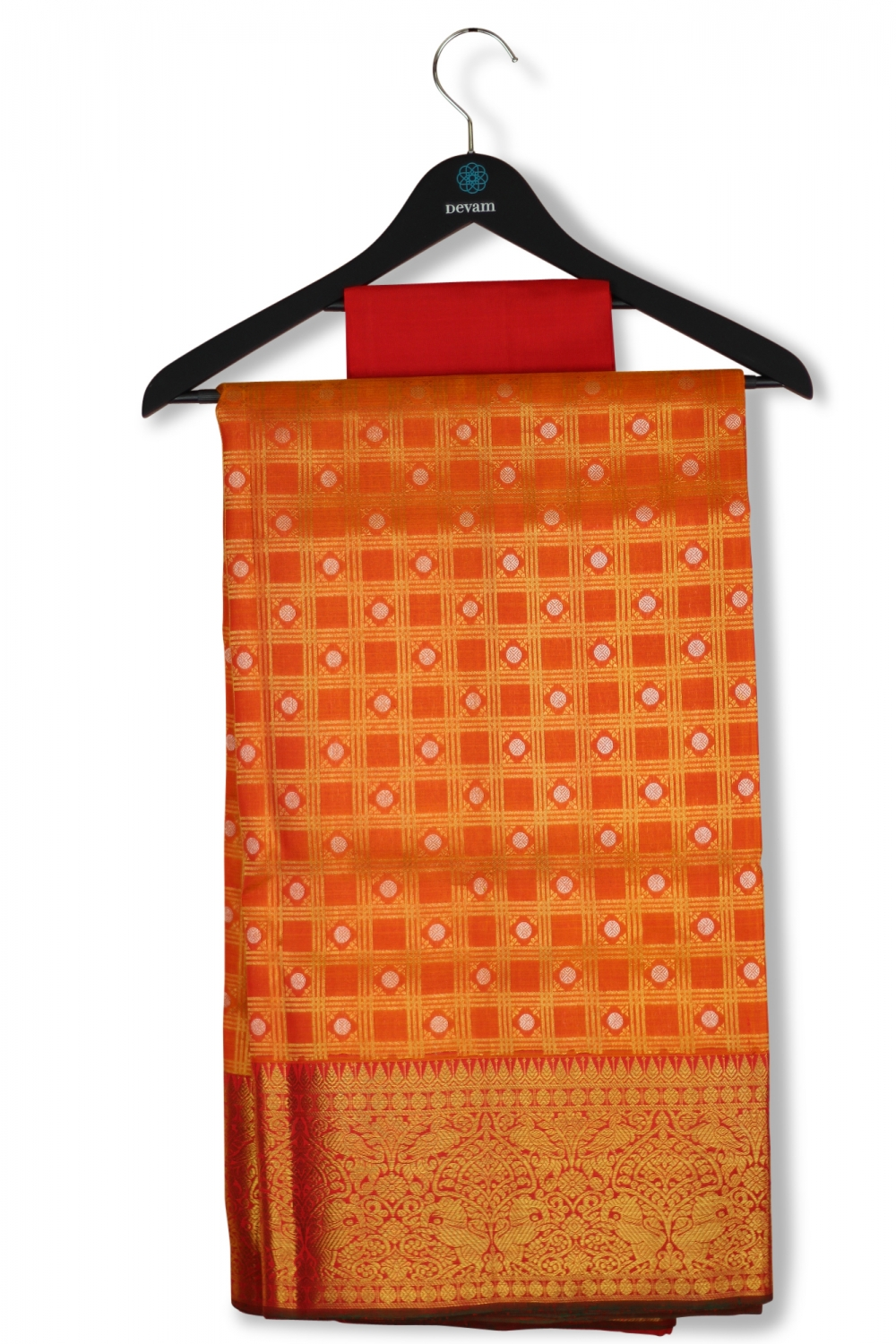 Orange & Red Real Jari Checkered Silk Kanjeevaram Saree