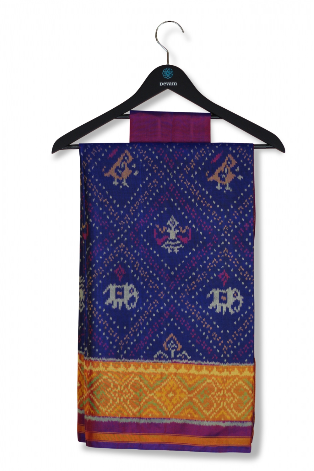 Deep Purple Silk Patola Saree With Real Jari