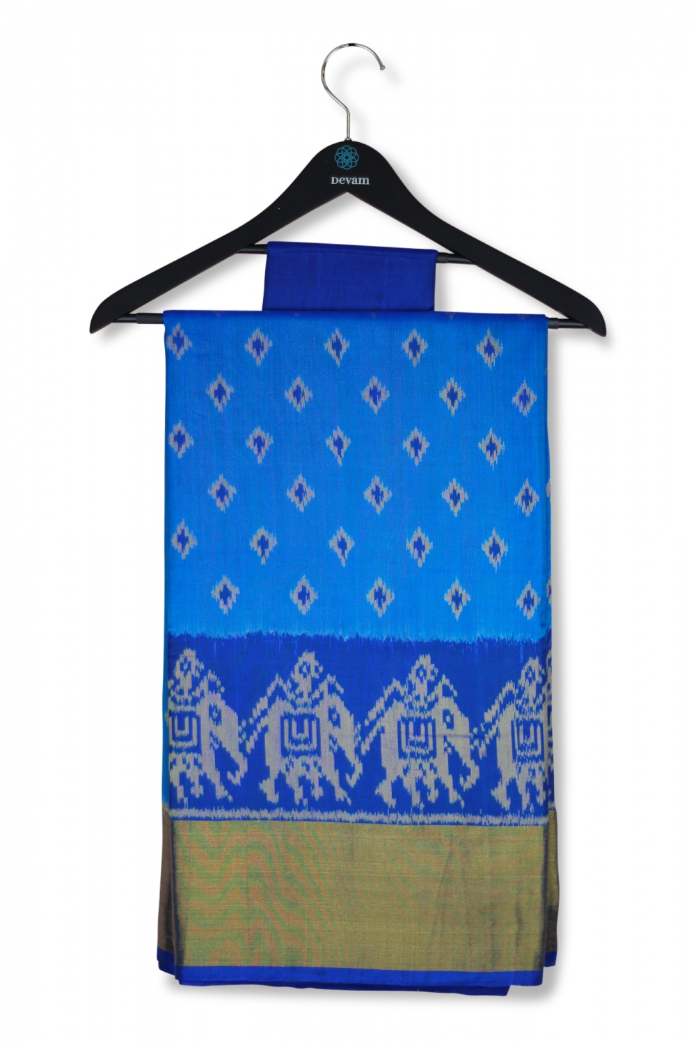Peacock Blue Silk Patola Saree With Real Jari