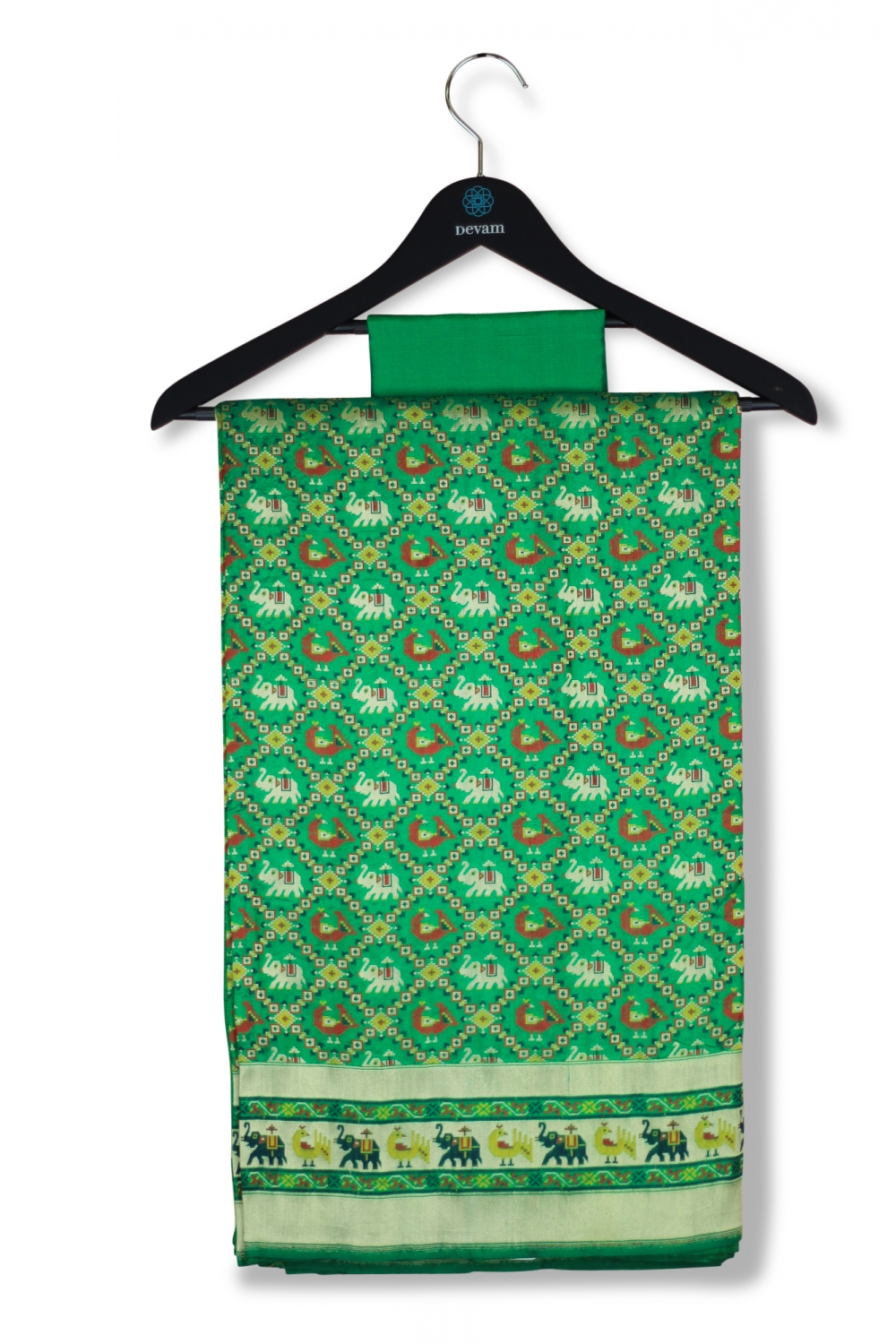 Ikkat Style Emerald Green Silk Banarasi Saree