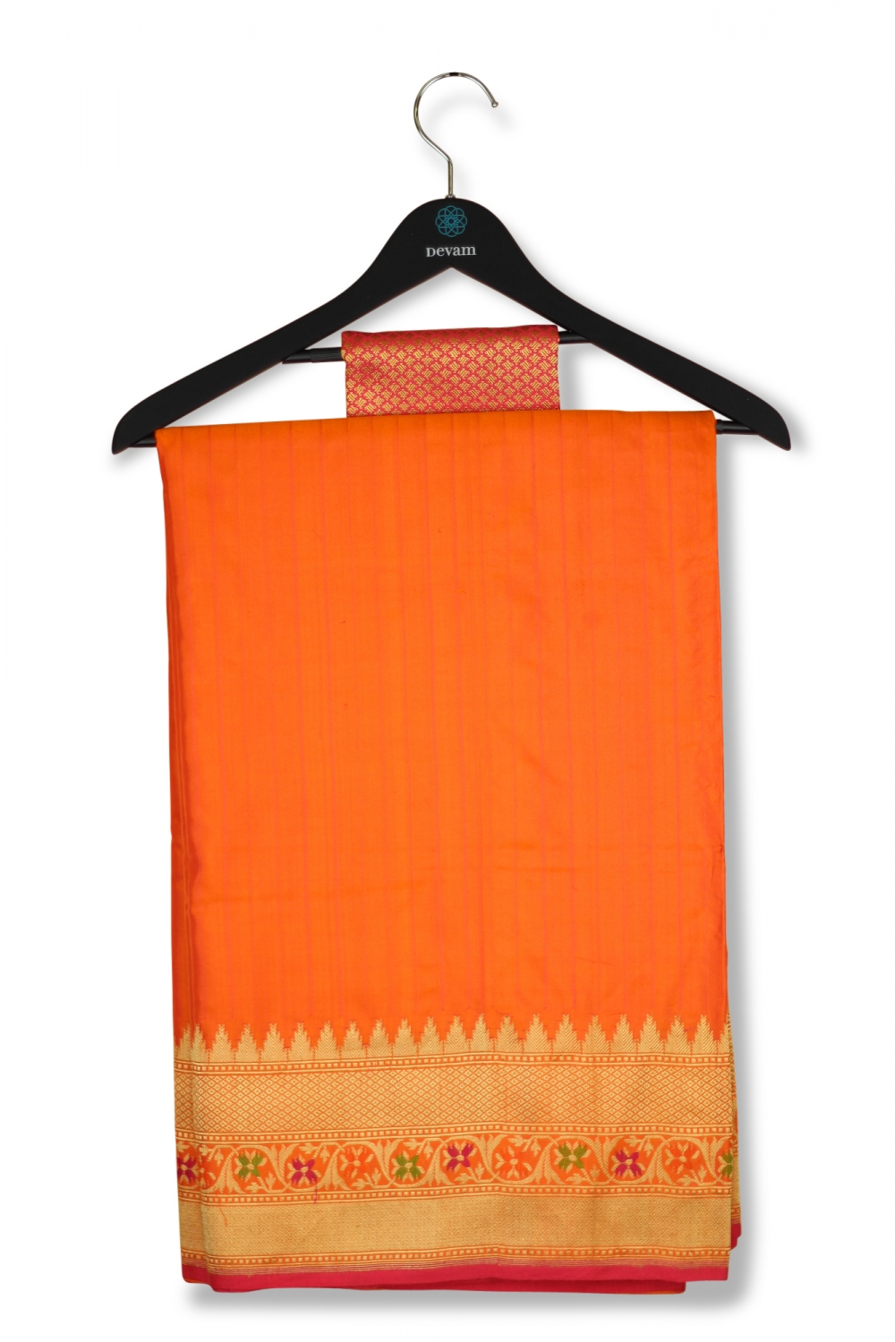 Orange Banarasi Silk Saree With Temple Border