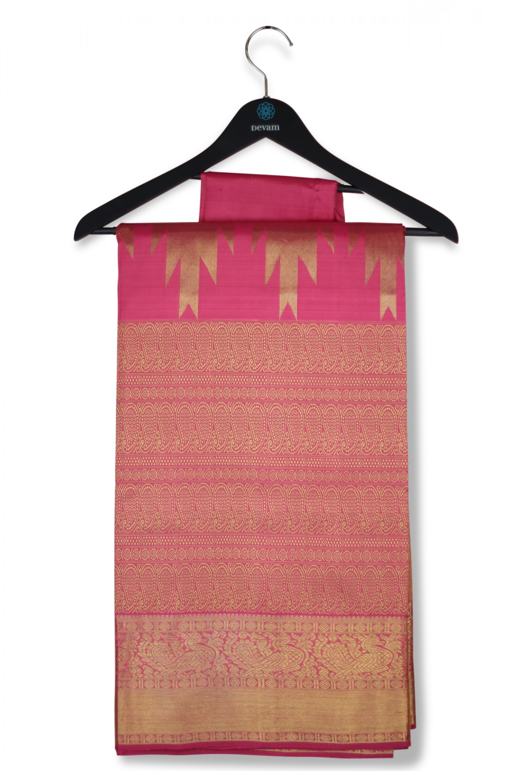 Pink & Gold Real Jari Silk Kanjeevaram Saree