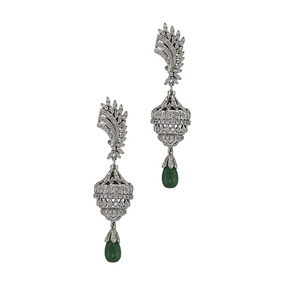 Emerald Drop Jhumkas / Chandelier Earrings