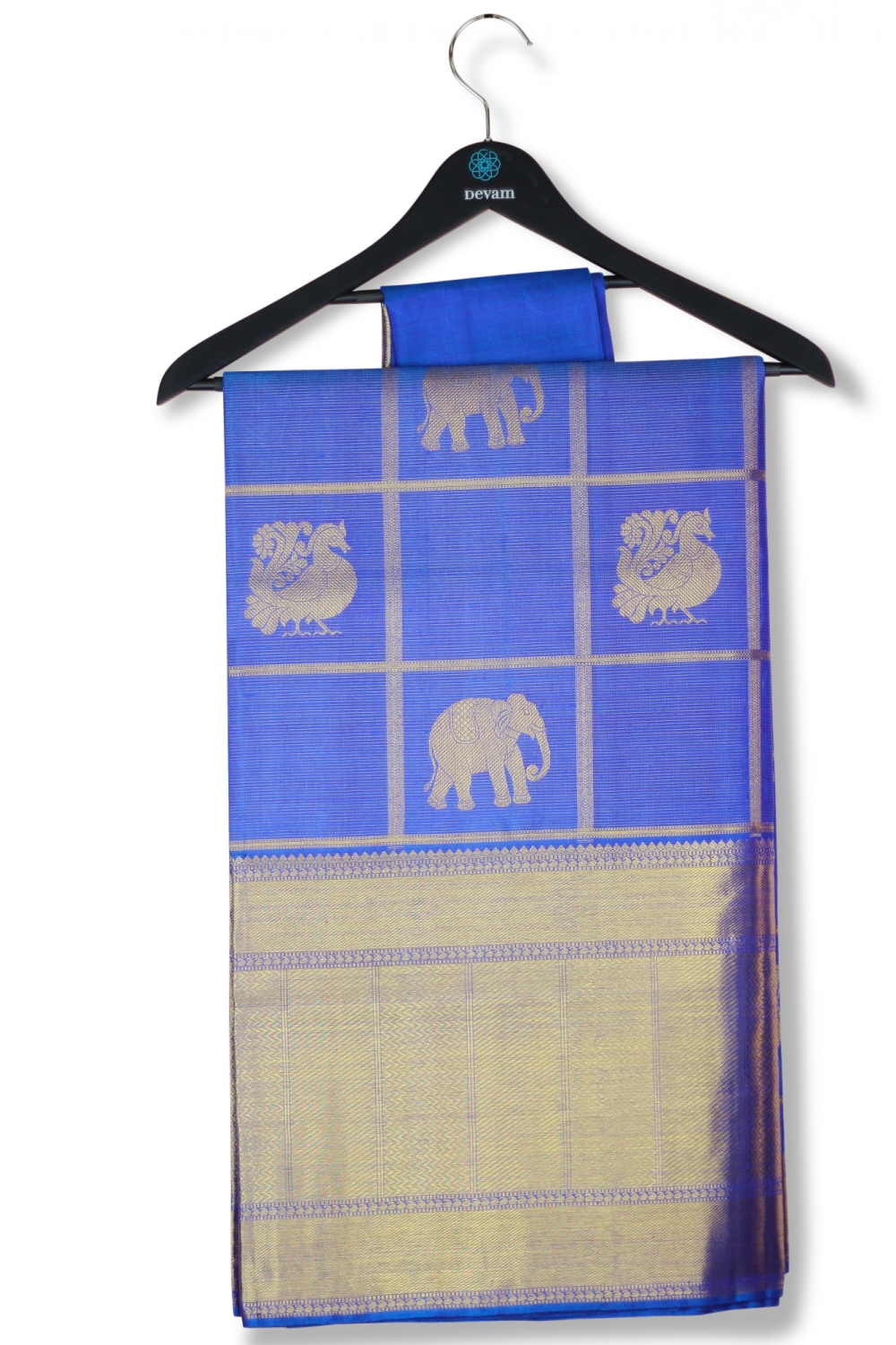 Blue & Gold Big Checkered Real Jari Silk Kanjeevaram Saree