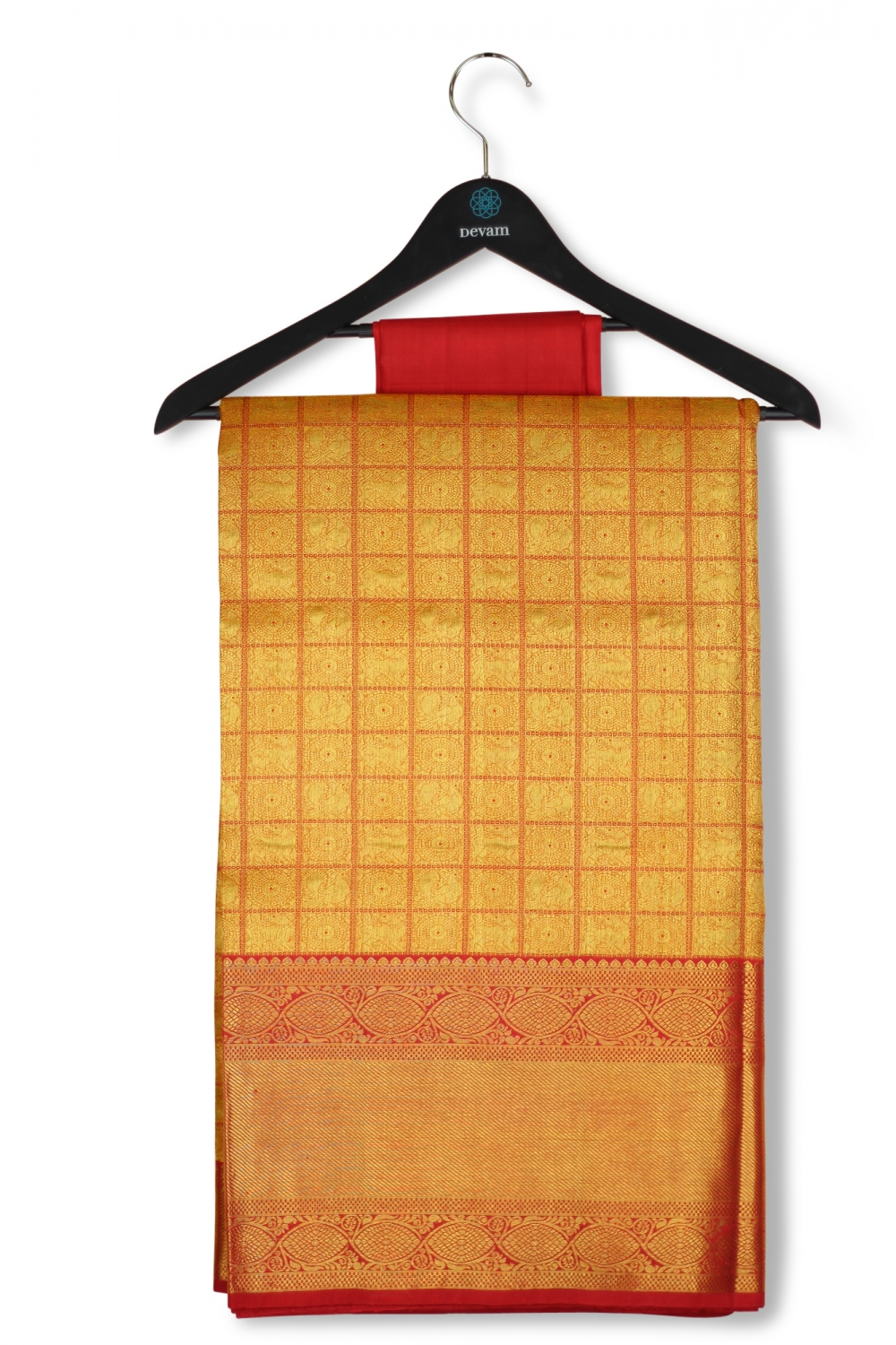 Red & Gold Real Jari Morchakra Silk Kanjeevaram Saree