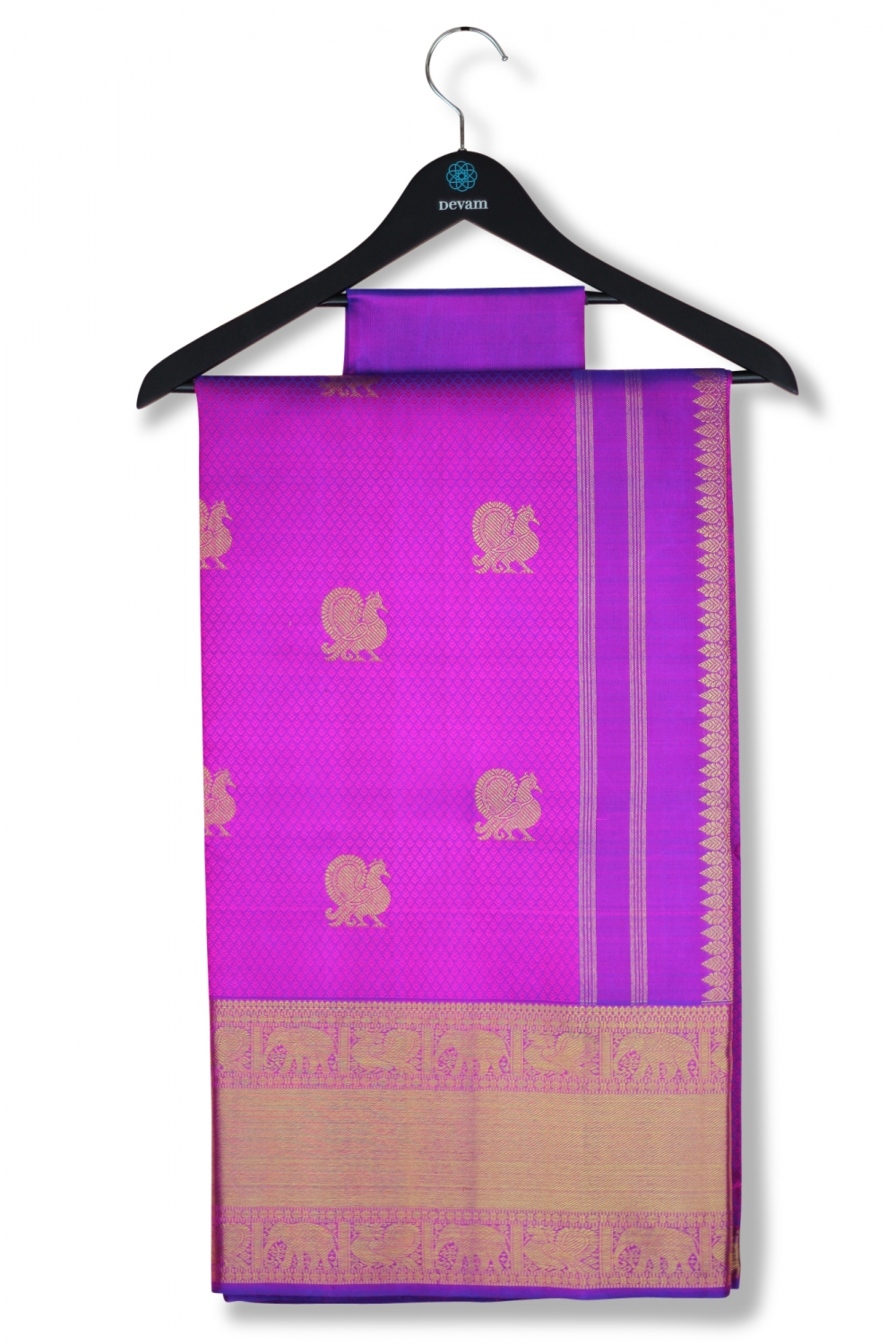 Majestic Purple Silk Kanjeevaram Saree With Real Jari