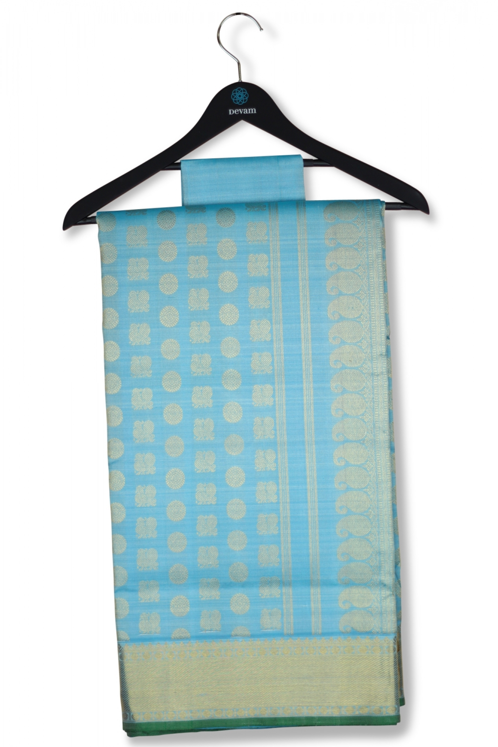 Sky Blue Silk Kanjeevaram With Real Jari Bhuttis