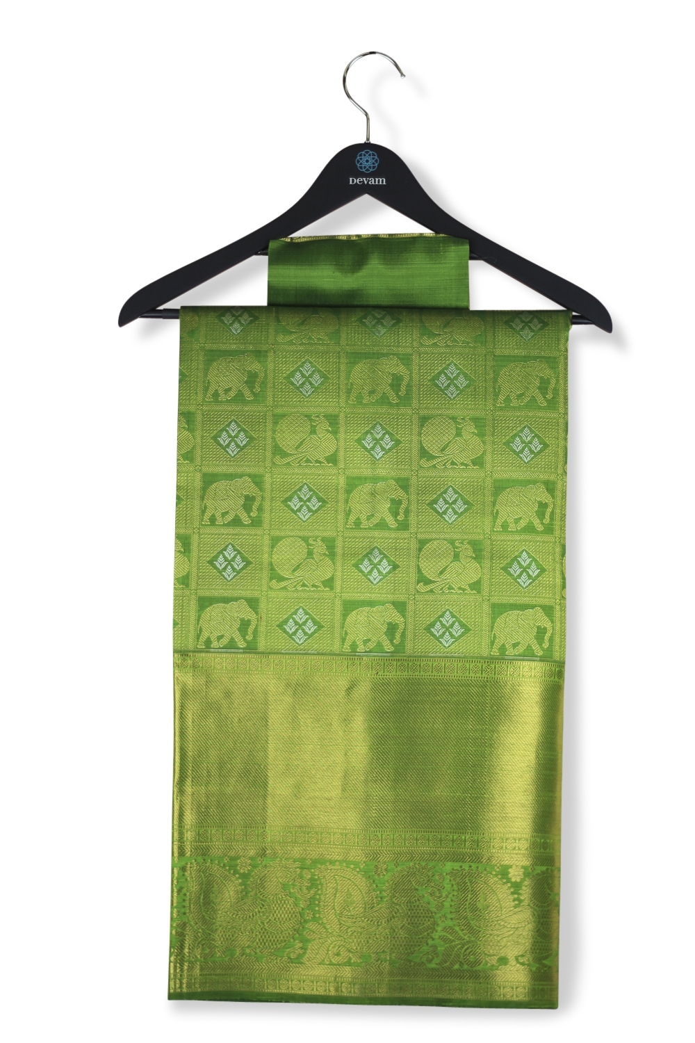 Leaf Green & Real Jari Gold Silk Kanjeevaram Saree