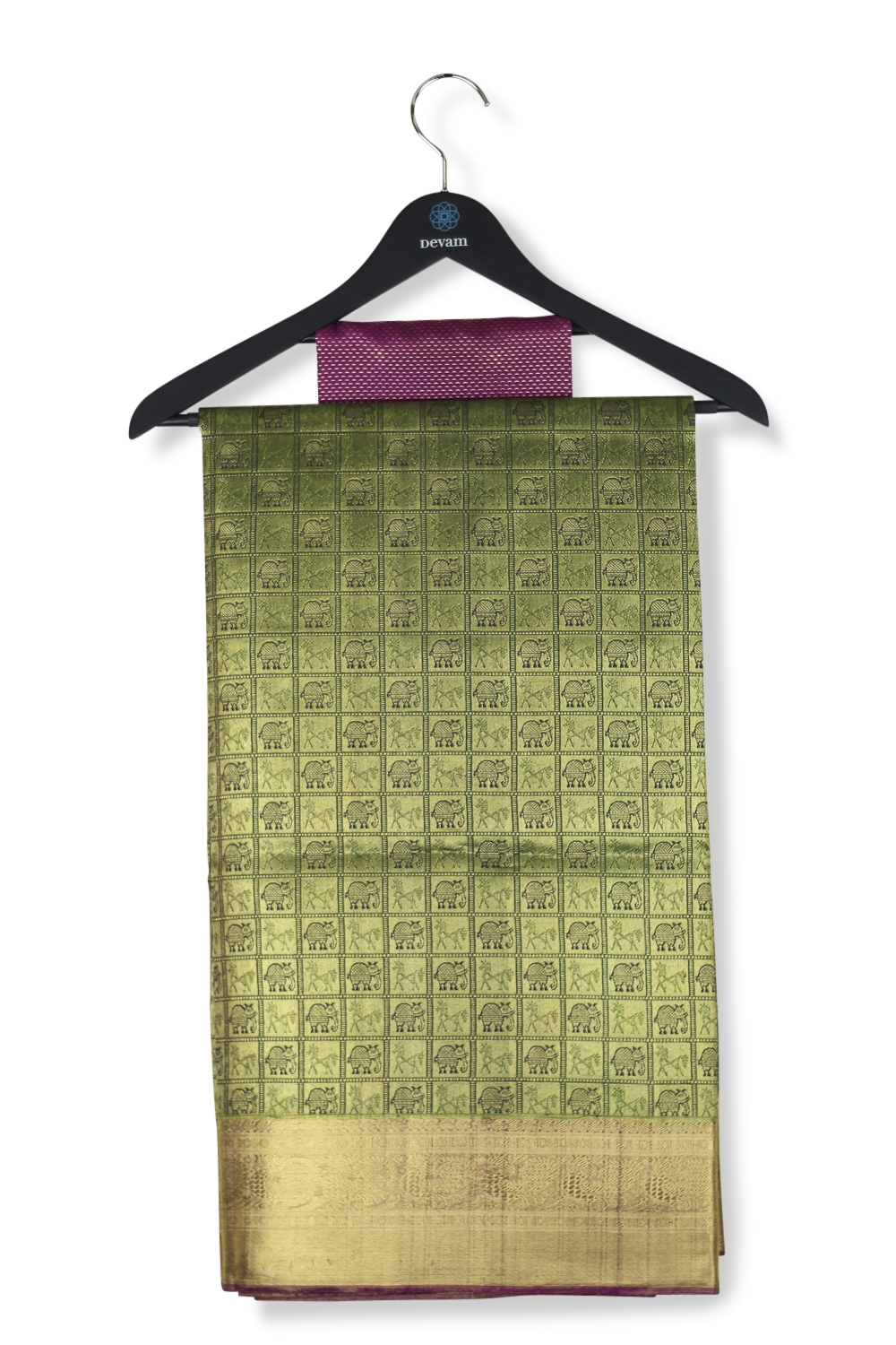 Many Checkered Green & Real Jari Gold Silk Kanjeevaram Saree