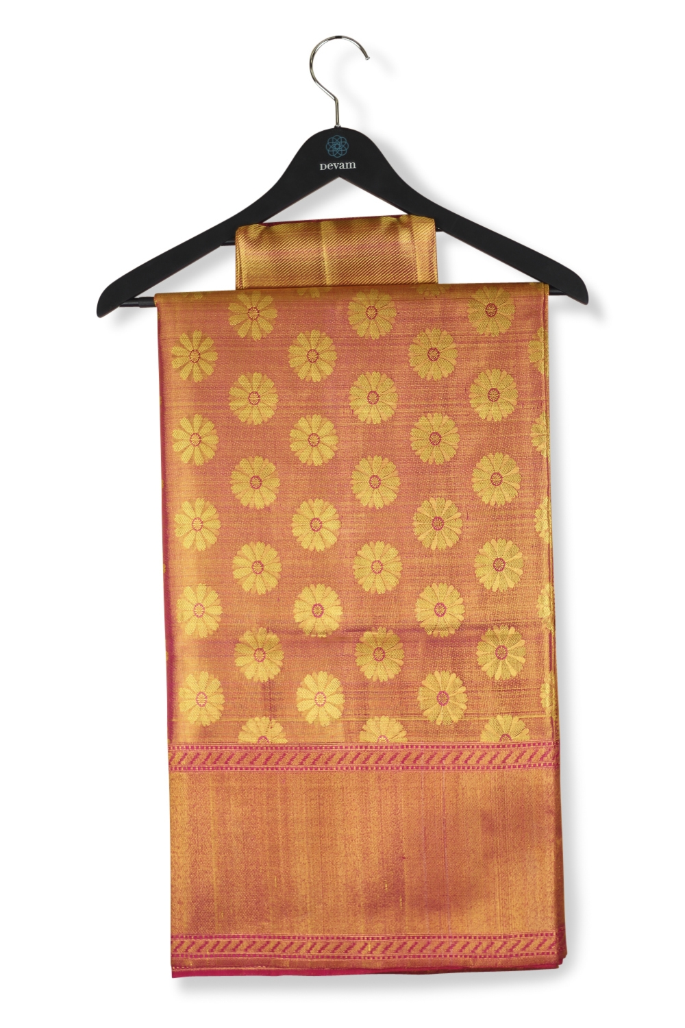 Golden Fuchsia Silk Kanjeevaram Saree
