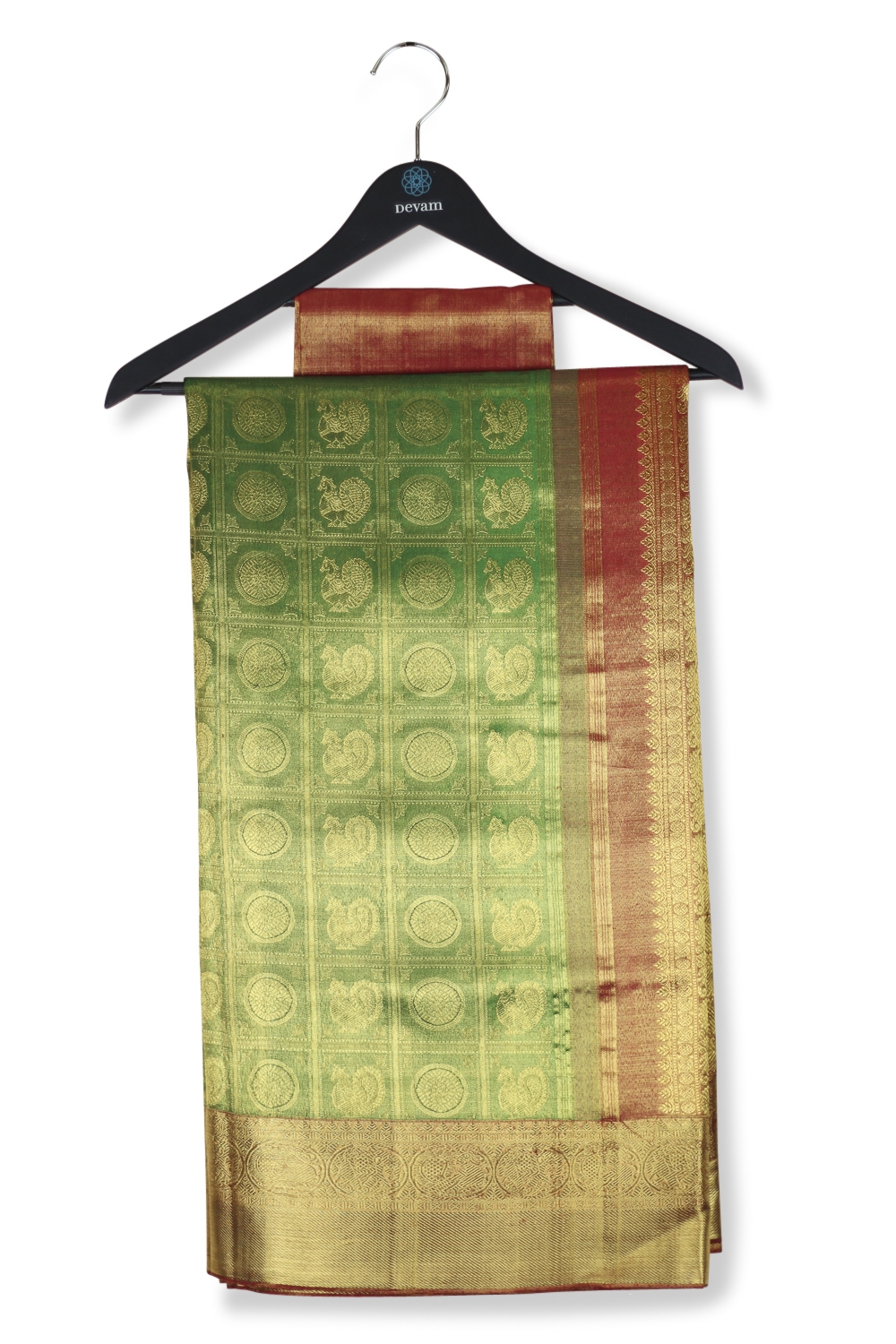 Green & Red Morchakra Real Jari Gold Silk Kanjeevaram Saree