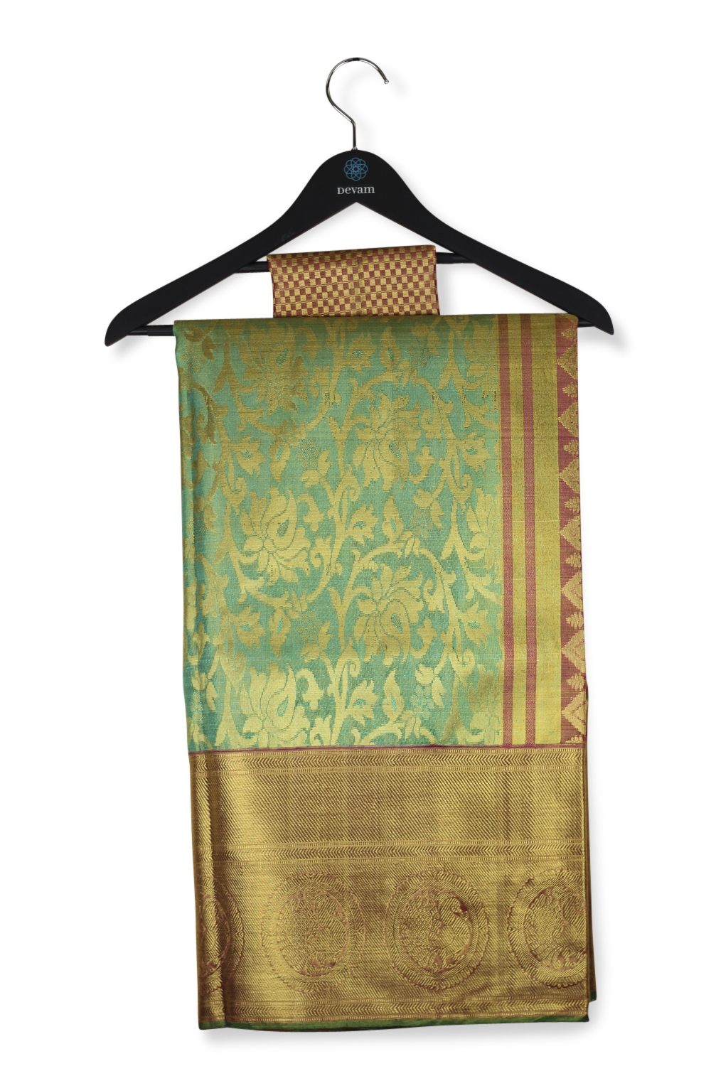Teal & Real Jari Gold Floral Kanjeevaram Silk Saree