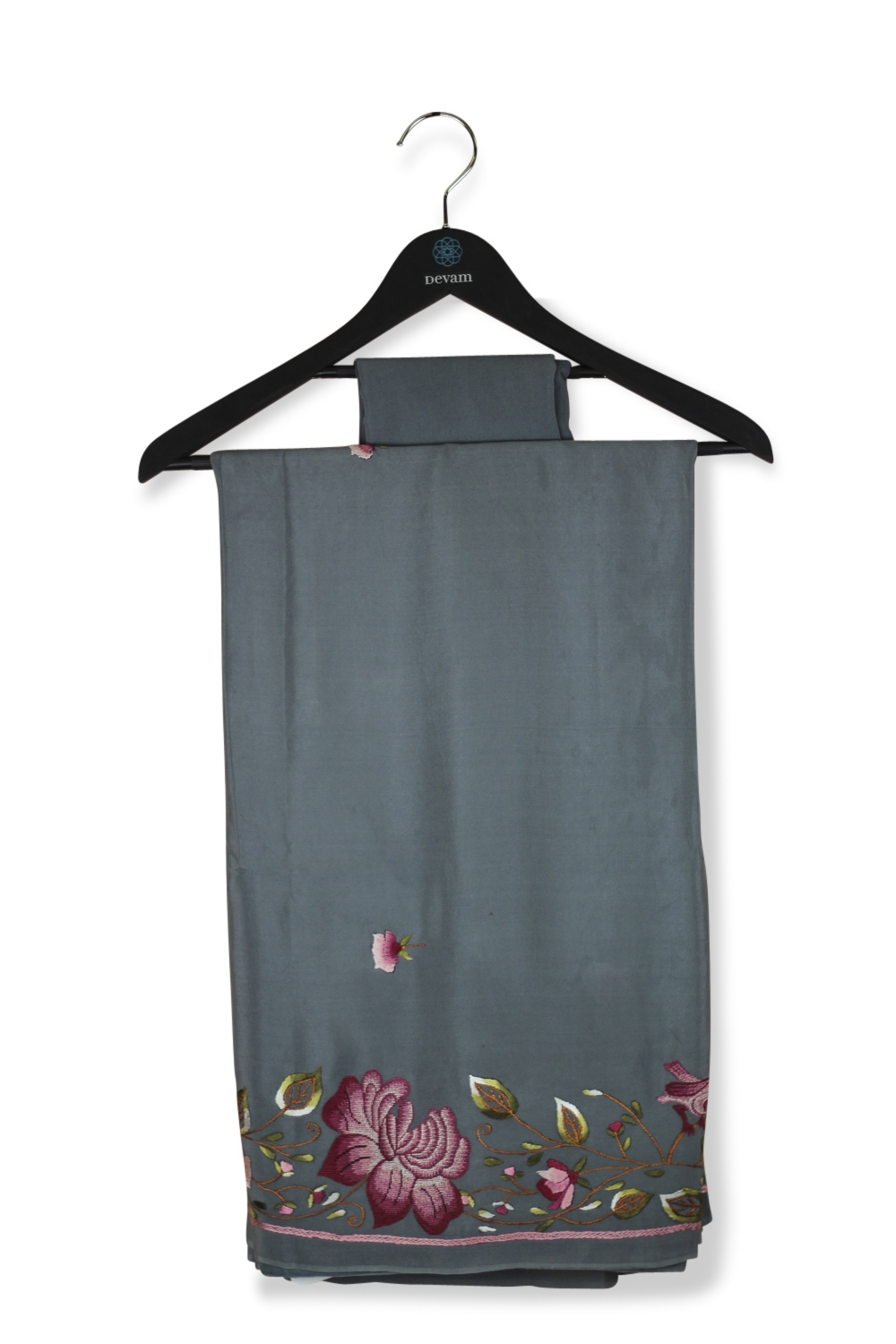 Gray Crepe Silk French Knot & Convent Embroidered Saree