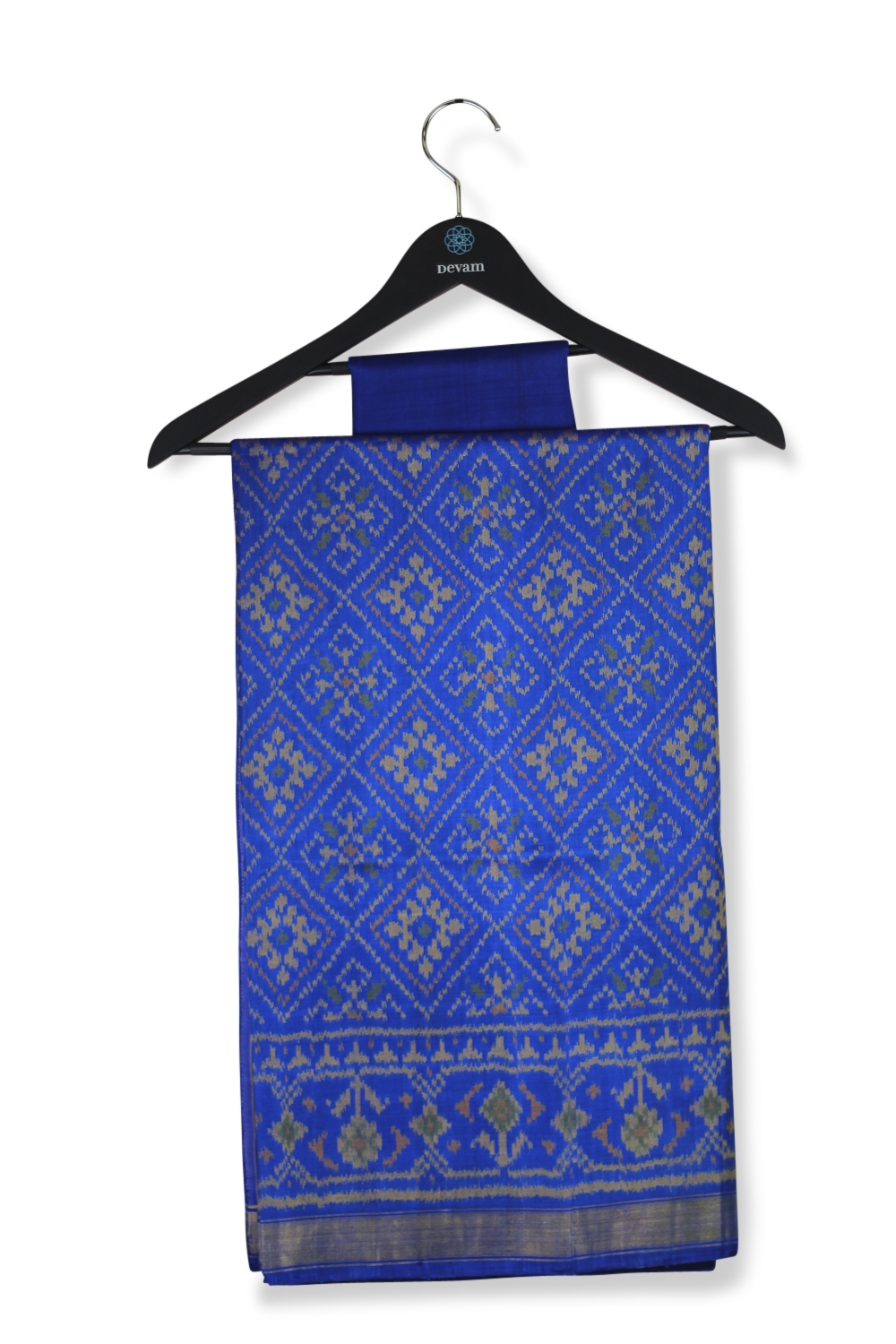 Royal Blue Diamond Flower Silk Patola Saree