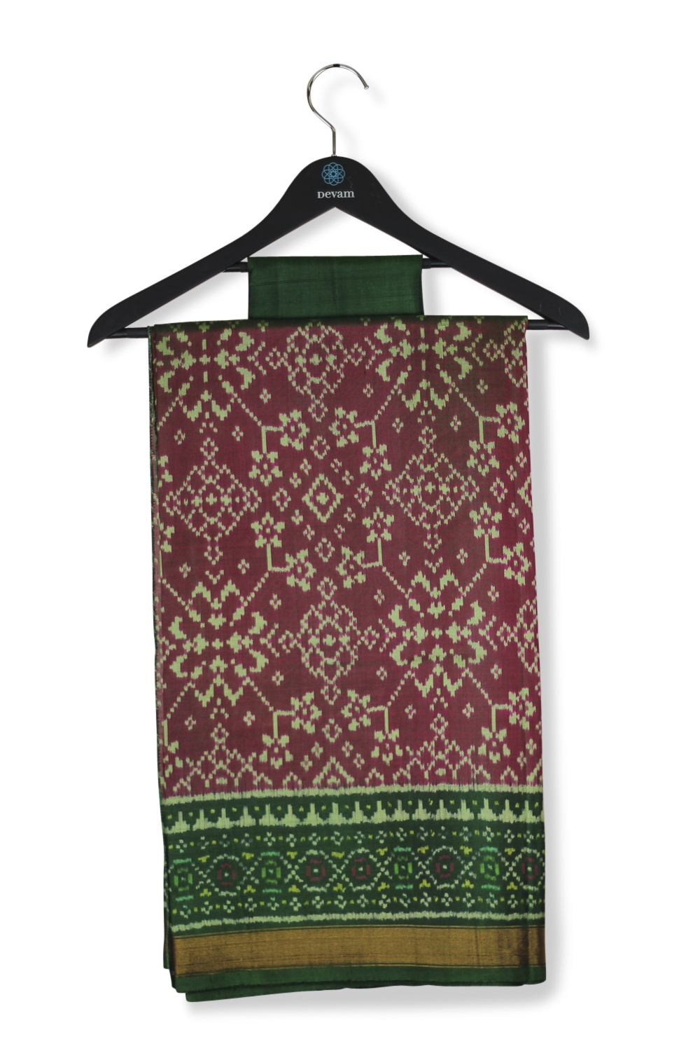 Intricate Green & Maroon Silk Patola Saree With Real Jari