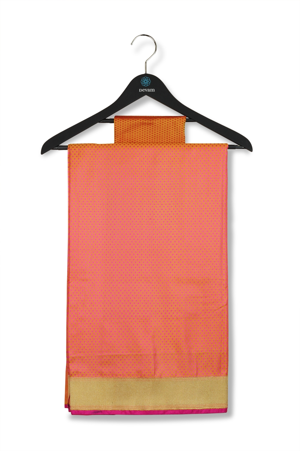 Orange & Fuchsia Saree Banarasi Soft Silk