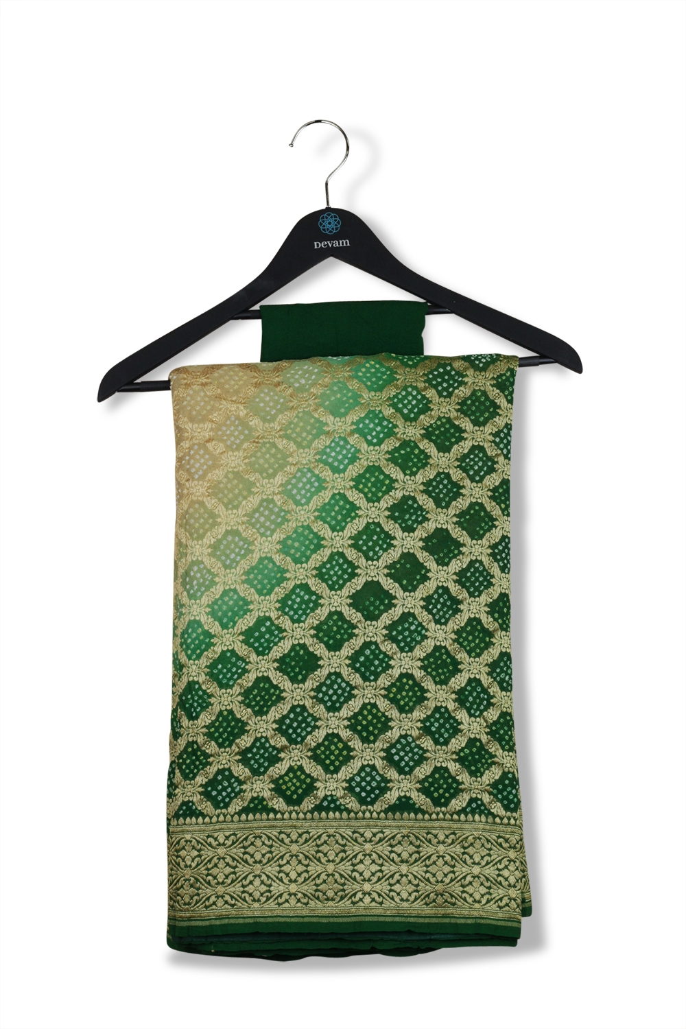 Emerald Green Georgette Saree With Bandhej