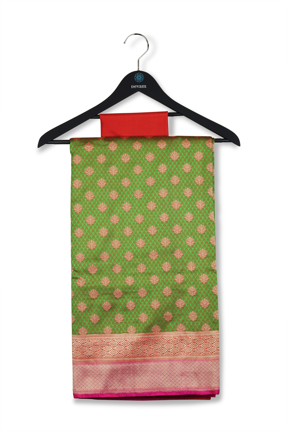 Green & Orange Small Bhuttis Silk Banarasi Saree