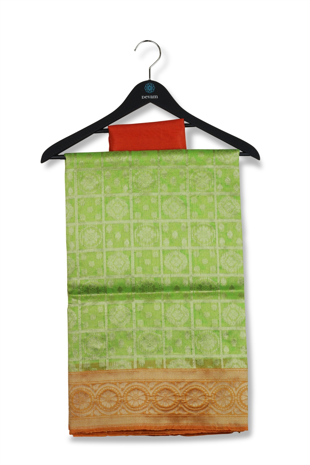 Green, Silver, & Orange Checkered Kora Silk Saree