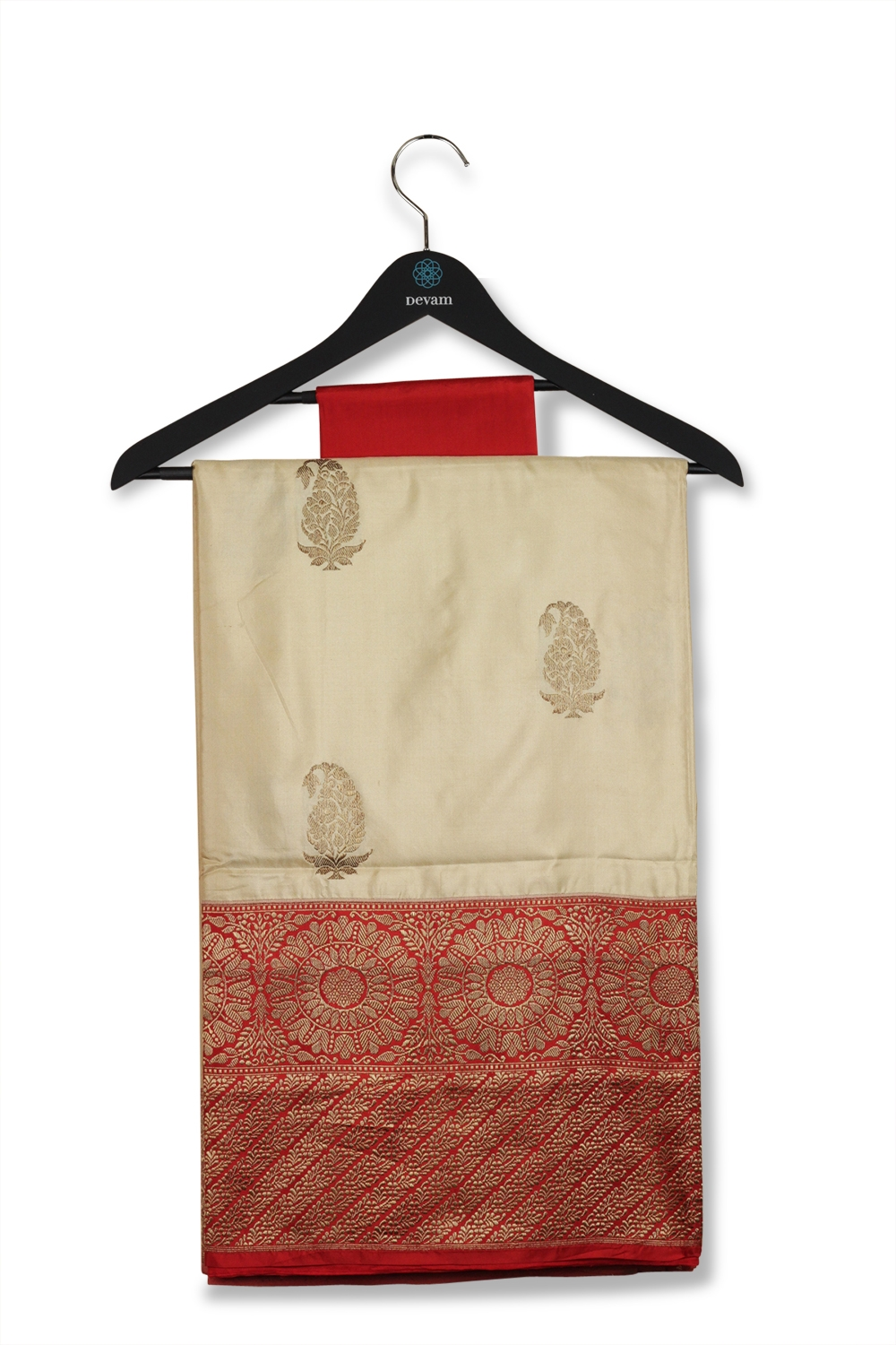 Off-White & Red Double Bordered Bhutti Banarasi Silk Saree