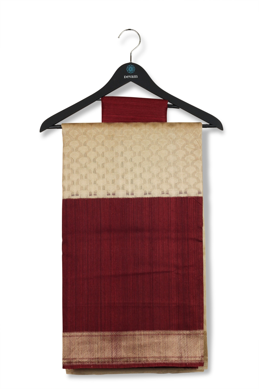 Off-White & Maroon Kora Silk Banarasi Saree