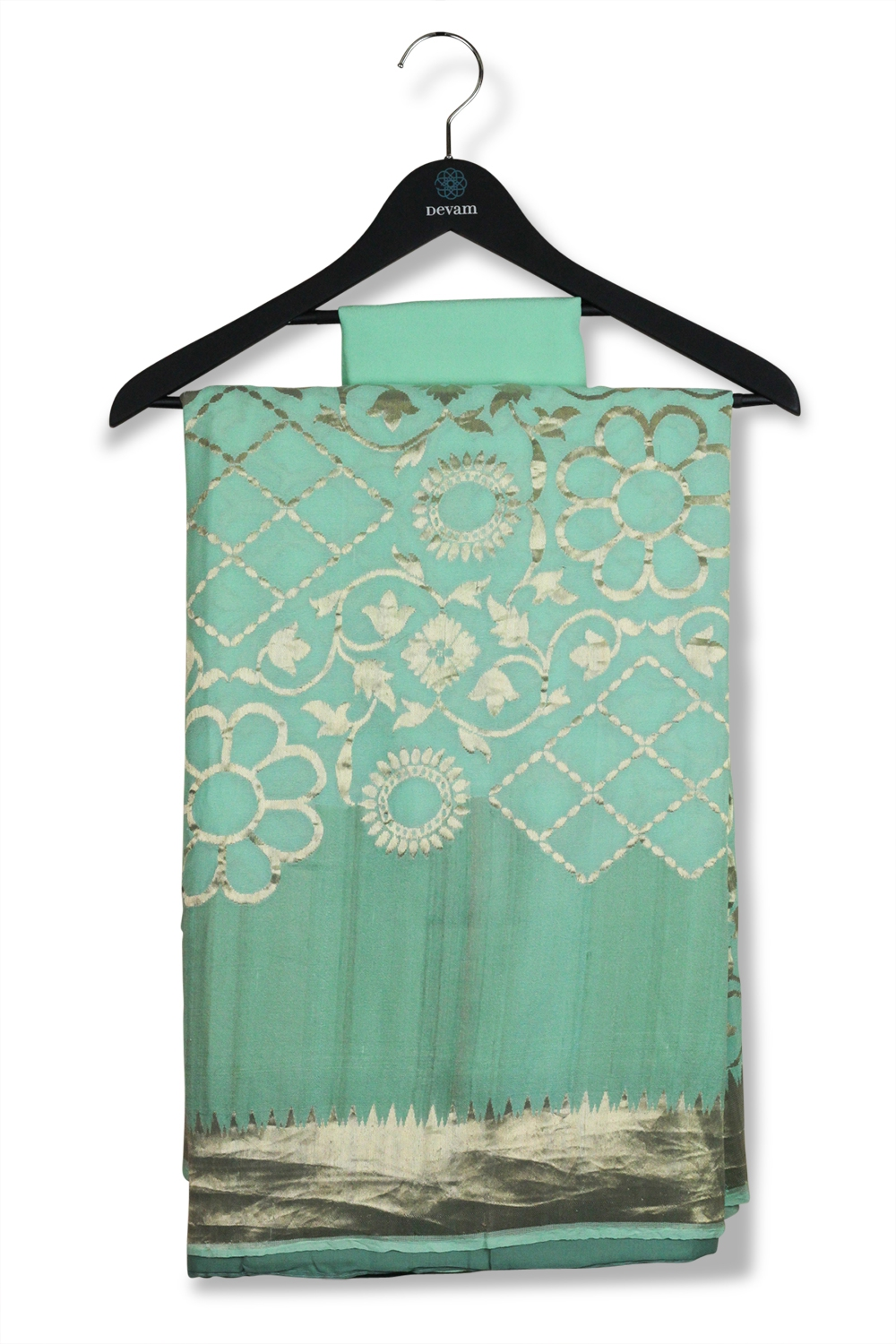 Mint Green Georgette Banarasi With Jaal Gold Kadiyal Allover