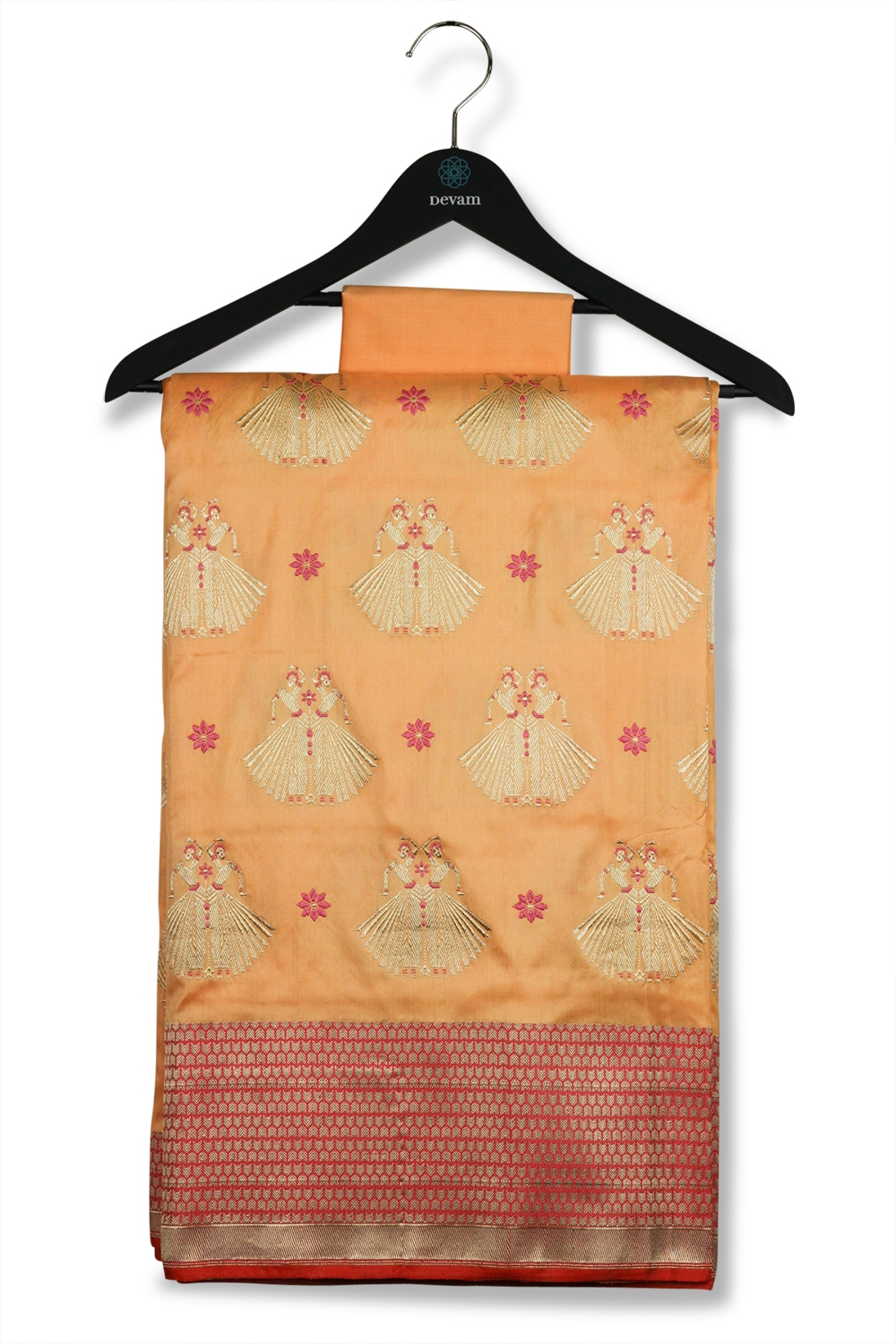 Peach Colored Katan Silk Kadwa Woven Banarasi Saree